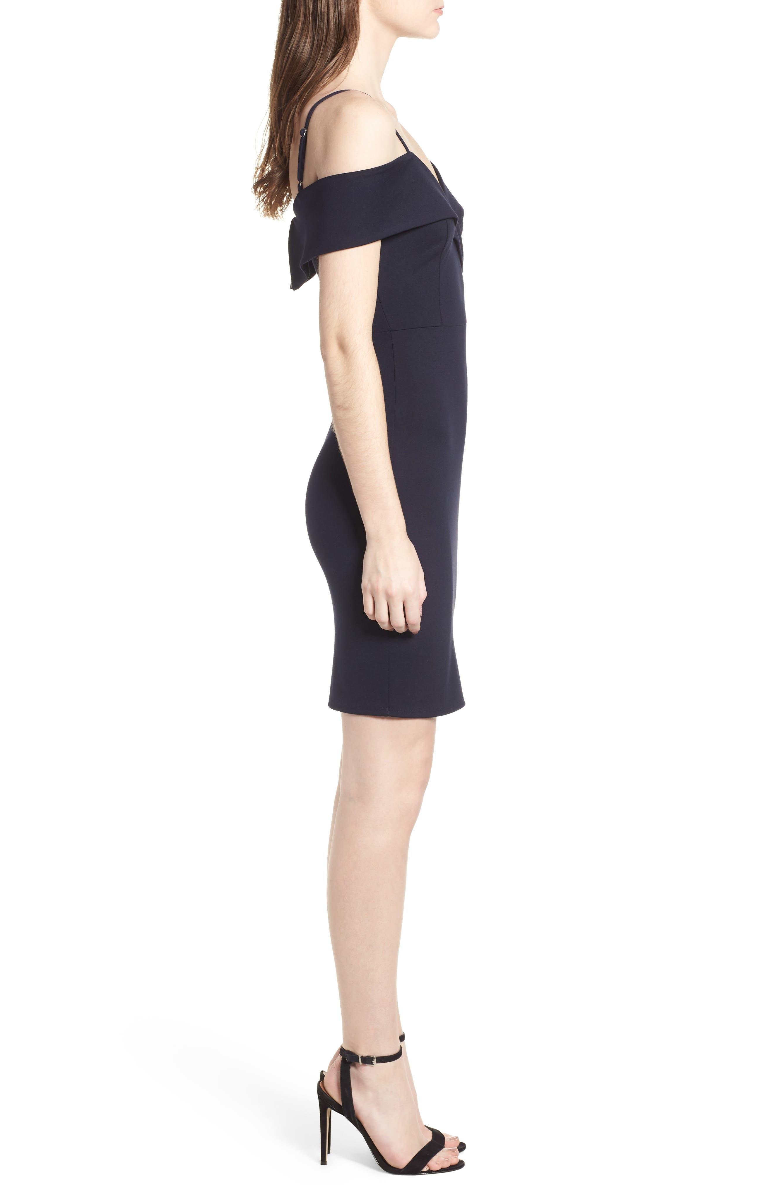 Cold Shoulder Body-Con Dress,                             Alternate thumbnail 3, color,                             Navy Pea Coat