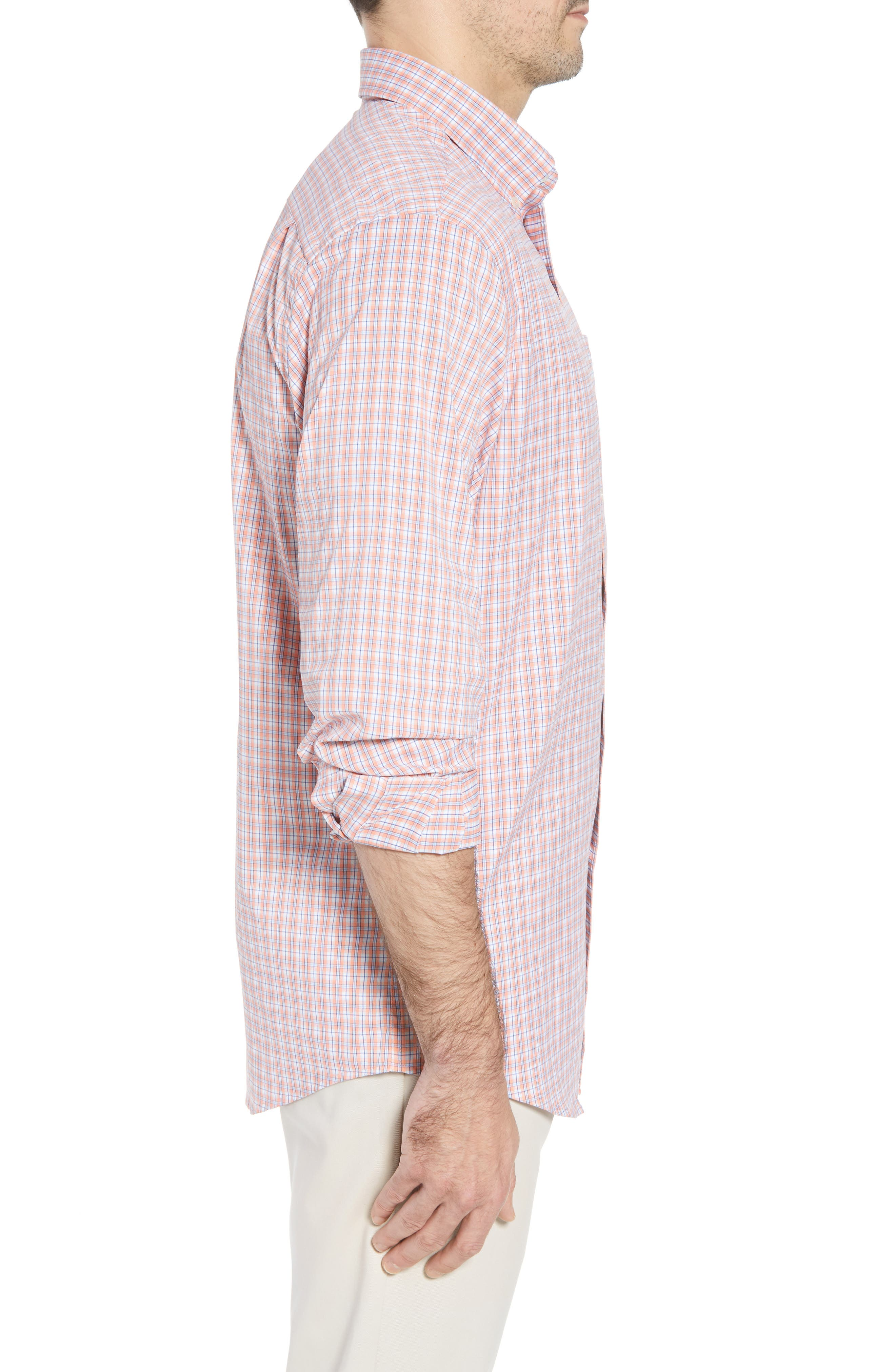 Grand Turk Regular Fit Stretch Plaid Sport Shirt,                             Alternate thumbnail 4, color,                             Nectar Coral