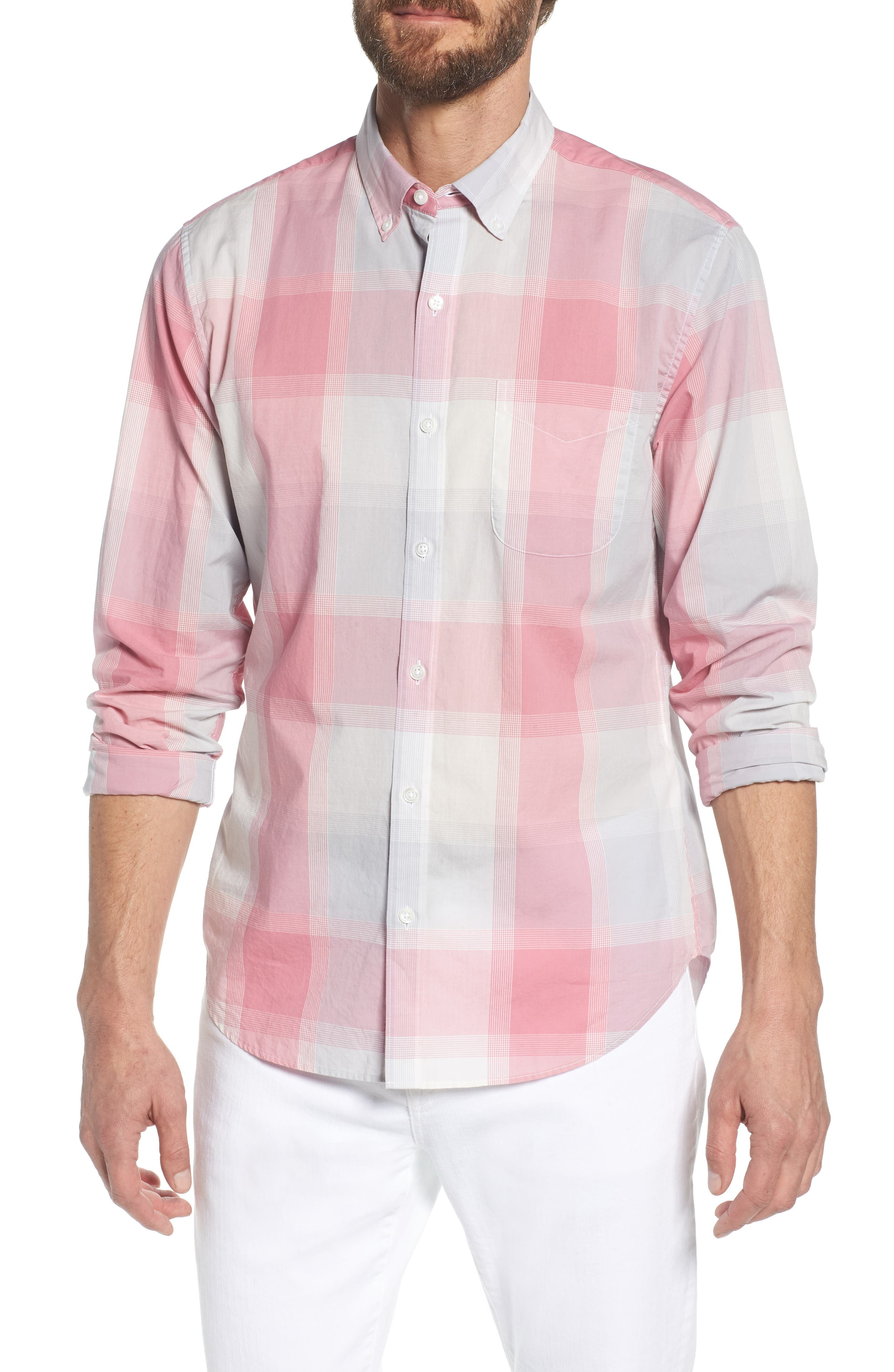Summerweight Slim Fit Plaid Sport Shirt,                             Main thumbnail 1, color,                             Oro Plaid - Pink Sand