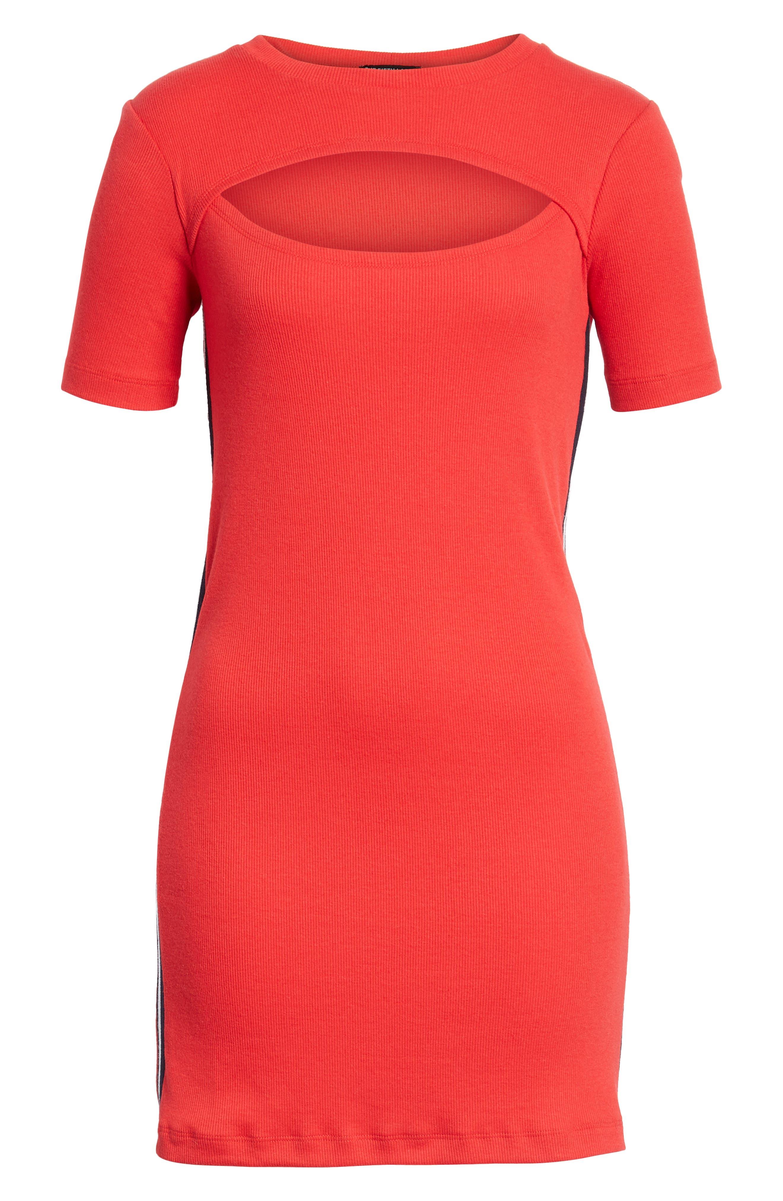 Cutout Dress,                             Alternate thumbnail 7, color,                             Red