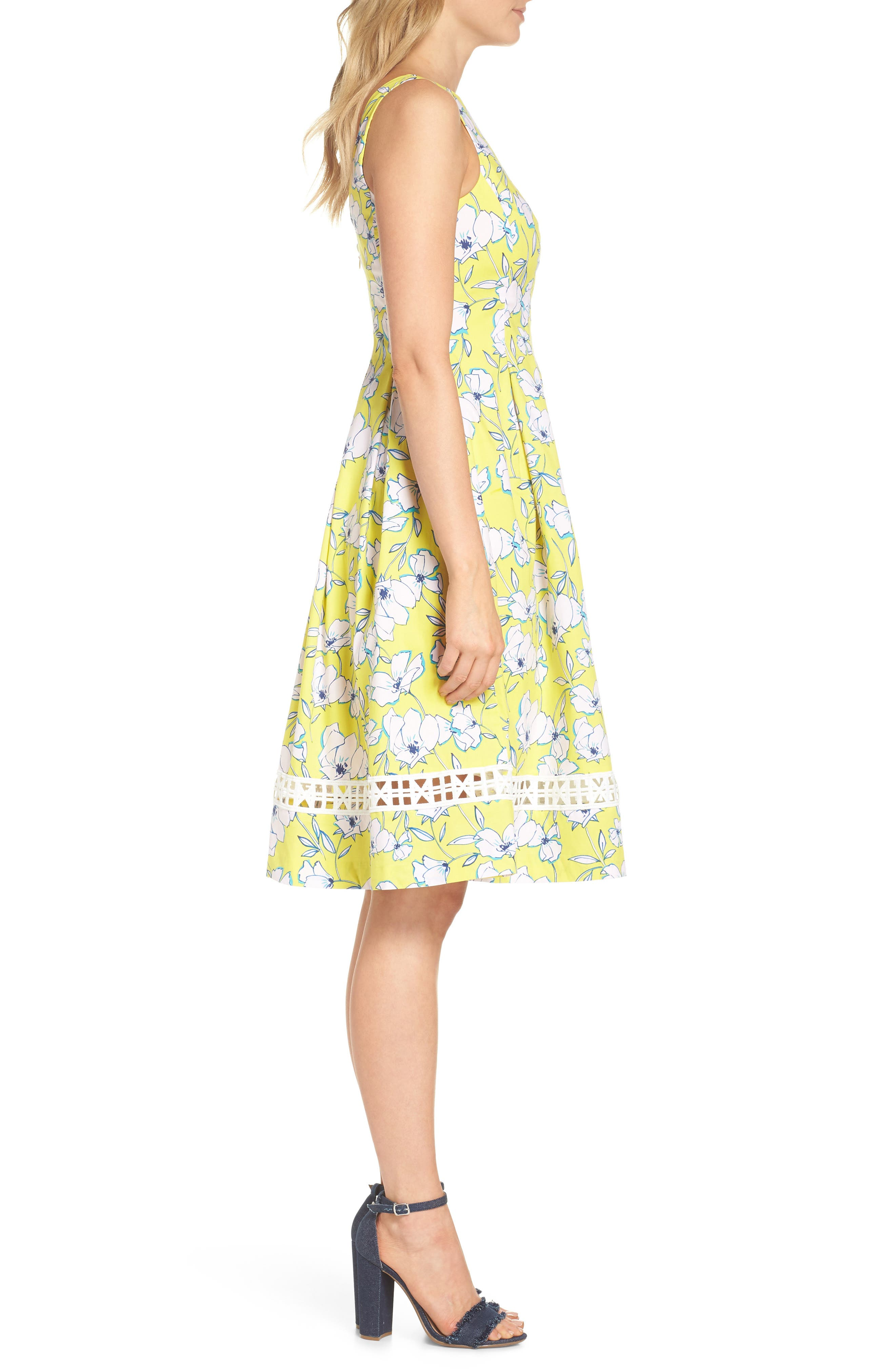Pleated Fit & Flare Dress,                             Alternate thumbnail 3, color,                             Yellow