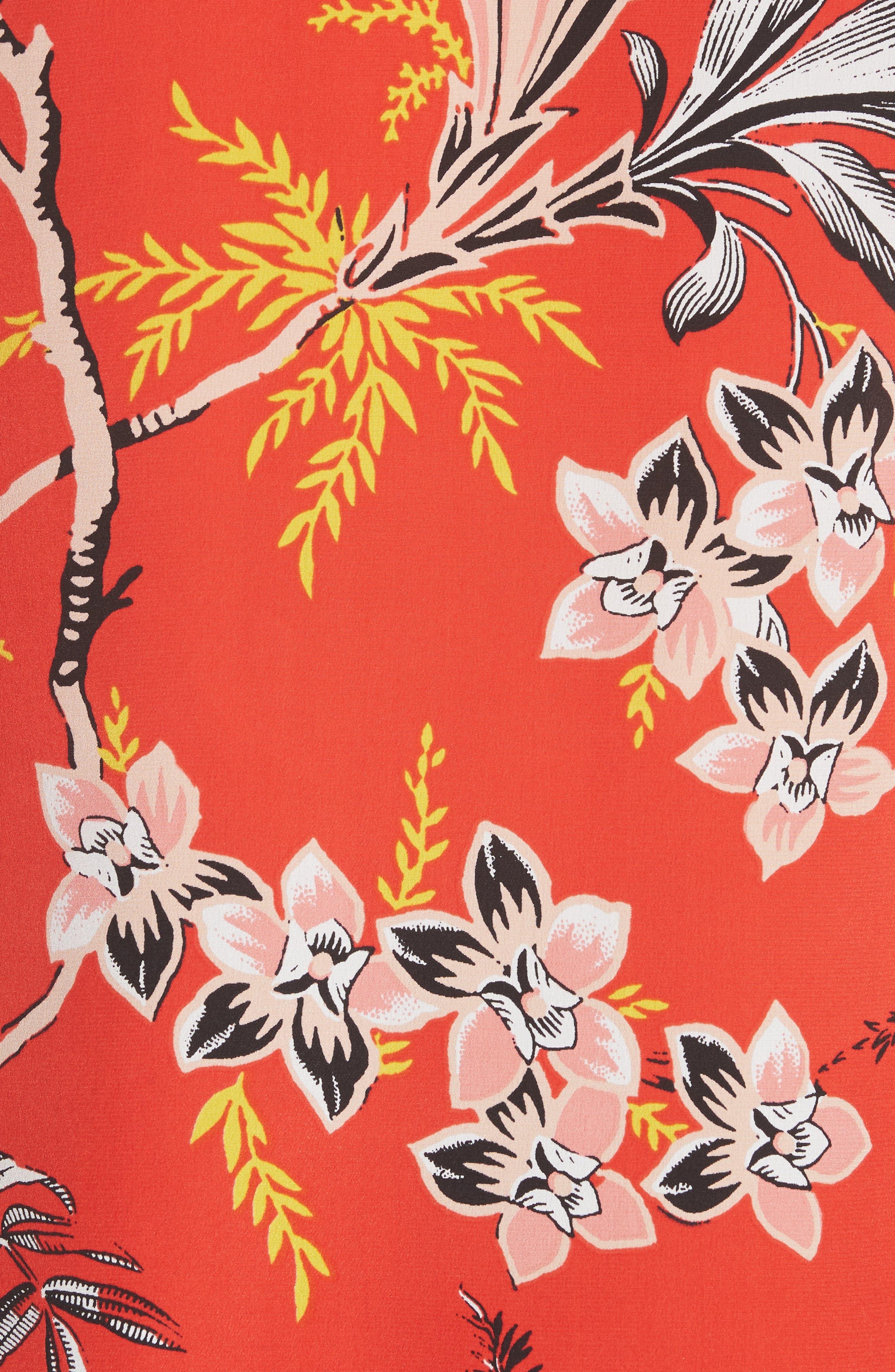 Keyhole Print Silk Blouse,                             Alternate thumbnail 5, color,                             Avalon Poppy