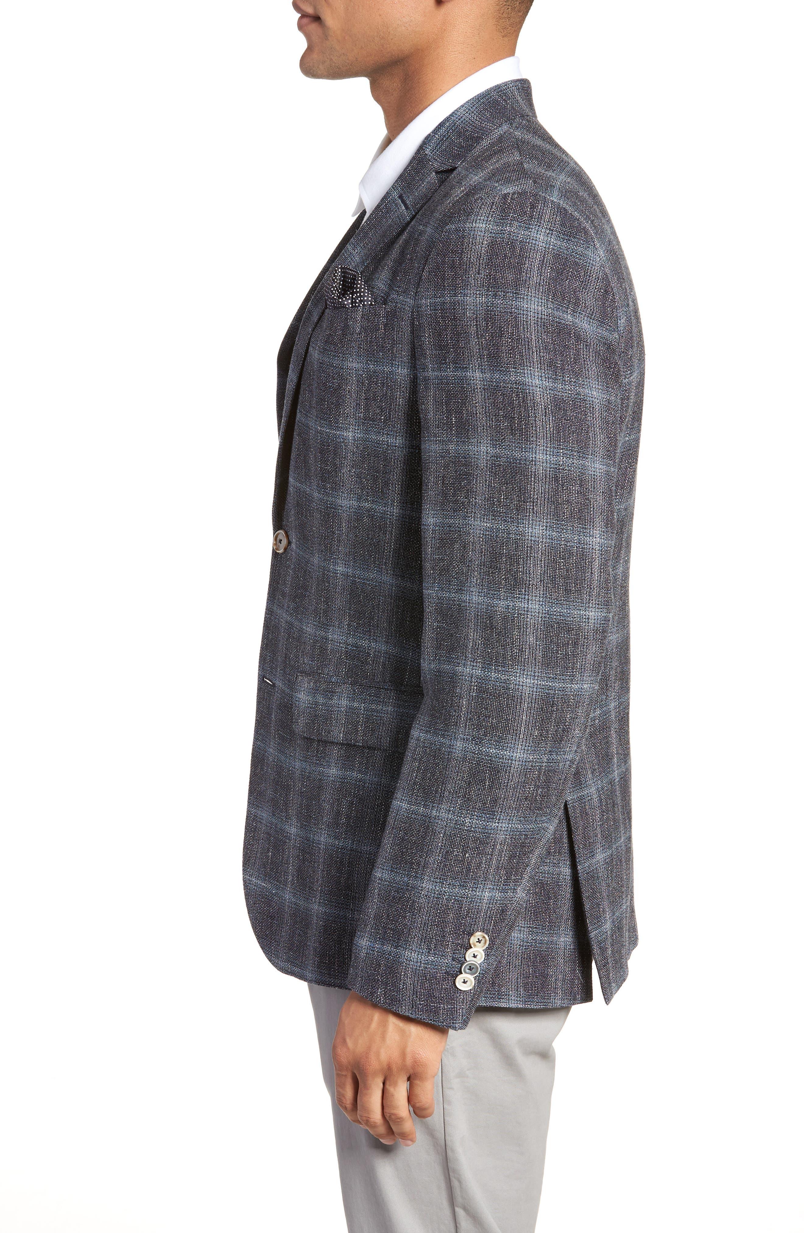 Trim Fit Plaid Sport Coat,                             Alternate thumbnail 3, color,                             Grey