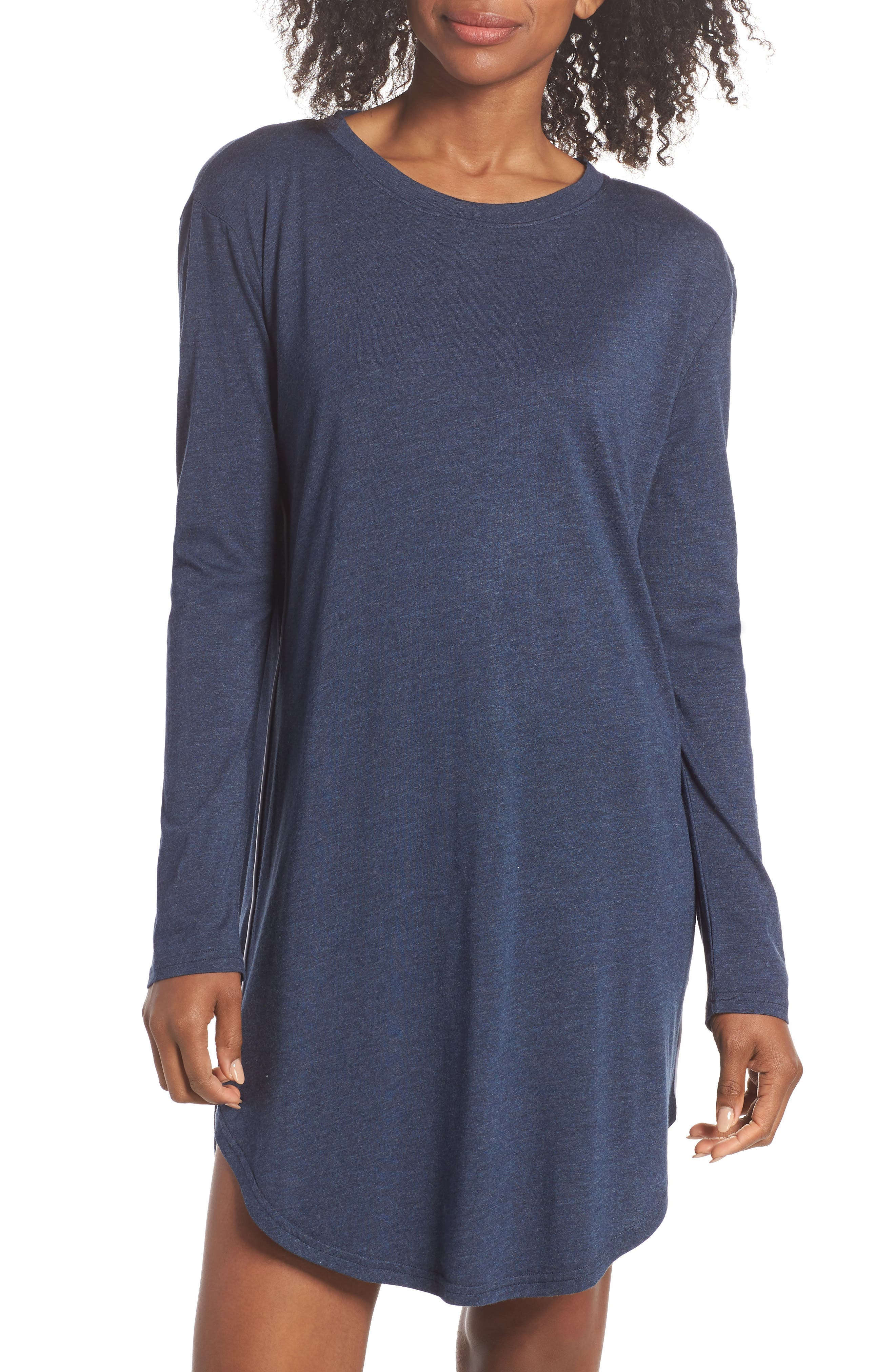 Midnight Marl Nightgown,                             Main thumbnail 1, color,                             Midnight Marle