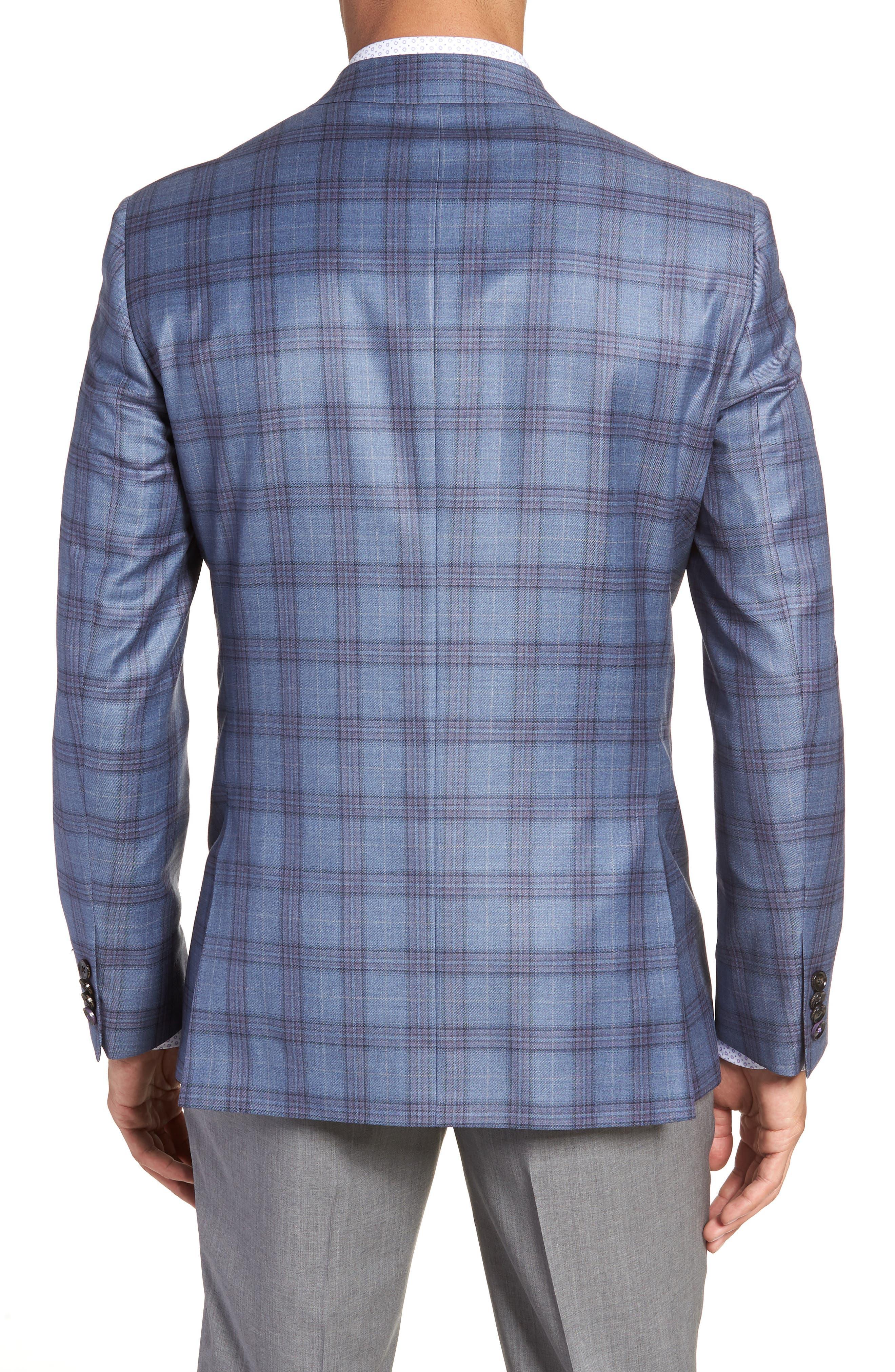 Jay Trim Fit Plaid Wool Sport Coat,                             Alternate thumbnail 2, color,                             Blue