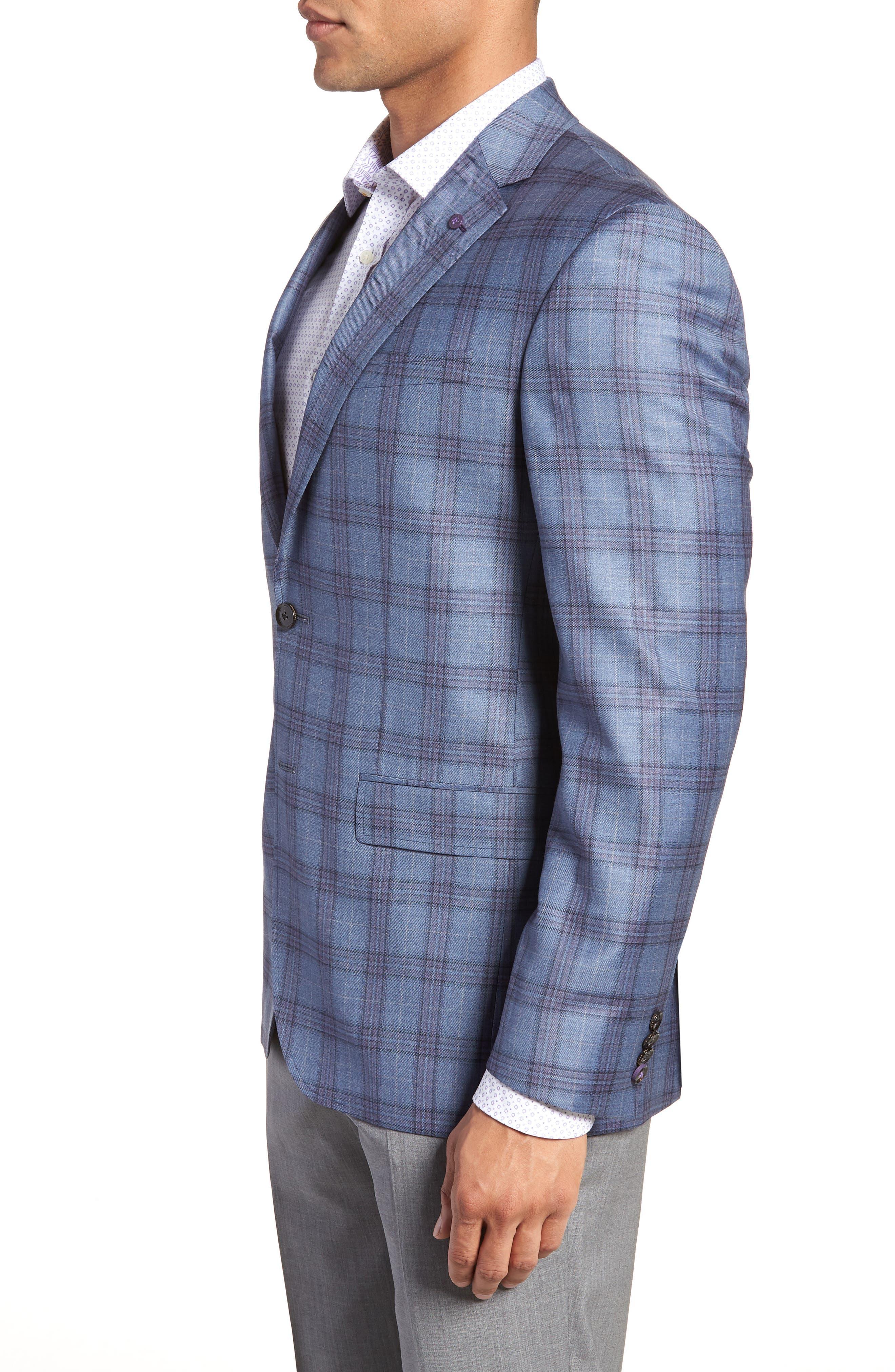 Jay Trim Fit Plaid Wool Sport Coat,                             Alternate thumbnail 3, color,                             Blue