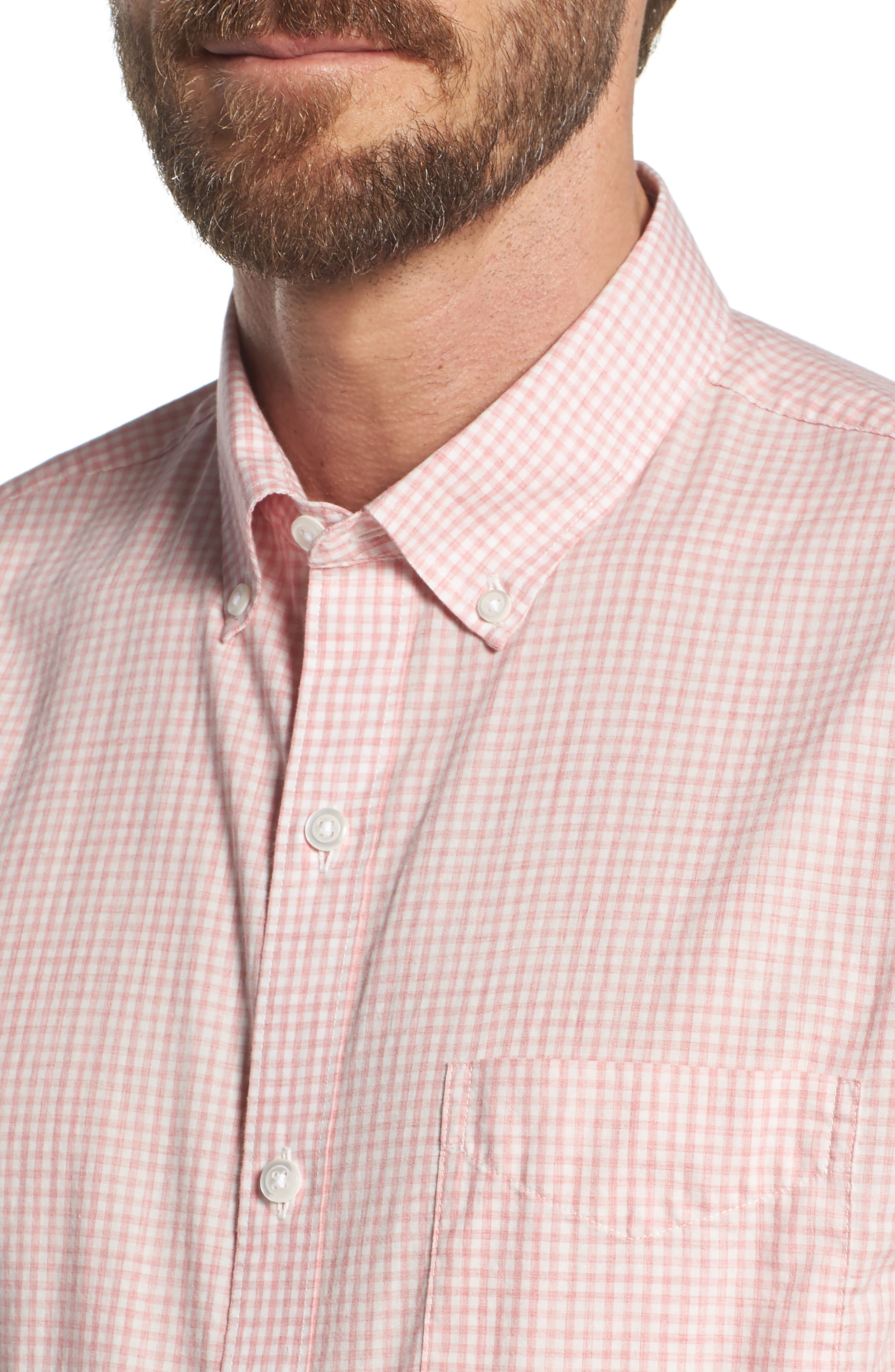 Summerweight Slim Fit Check Sport Shirt,                             Alternate thumbnail 2, color,                             Mini Gingham - Heather Rose