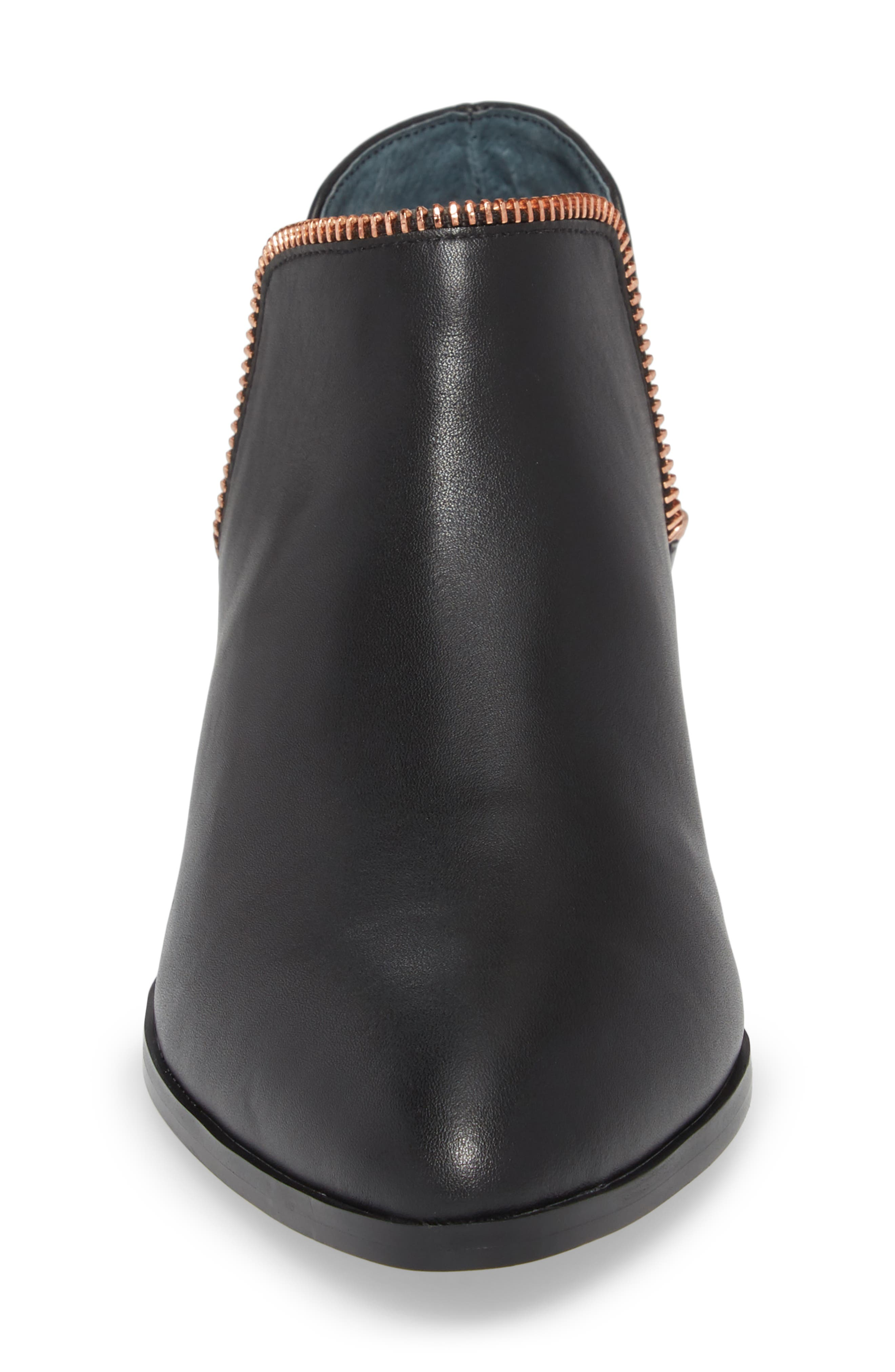 Piper Bootie,                             Alternate thumbnail 4, color,                             Black Leather/ Rosegold