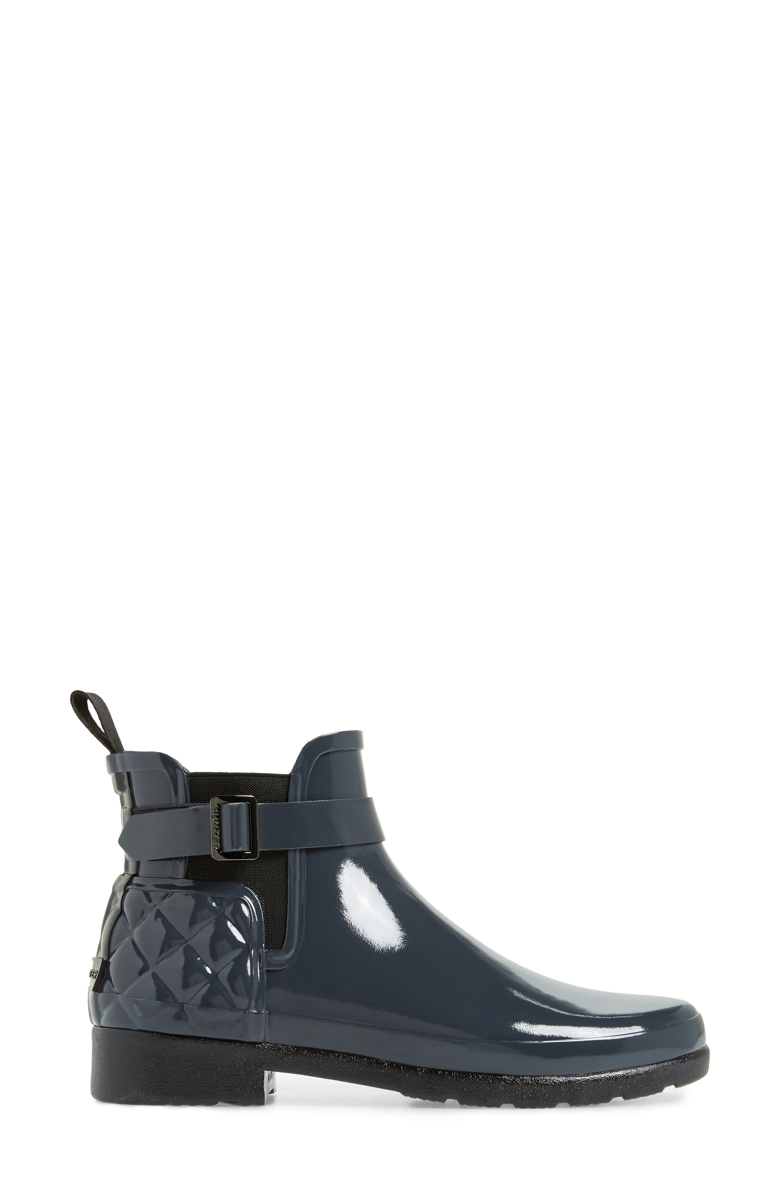 Original Refined Quilted Gloss Chelsea Boot,                             Alternate thumbnail 3, color,                             Dark Slate