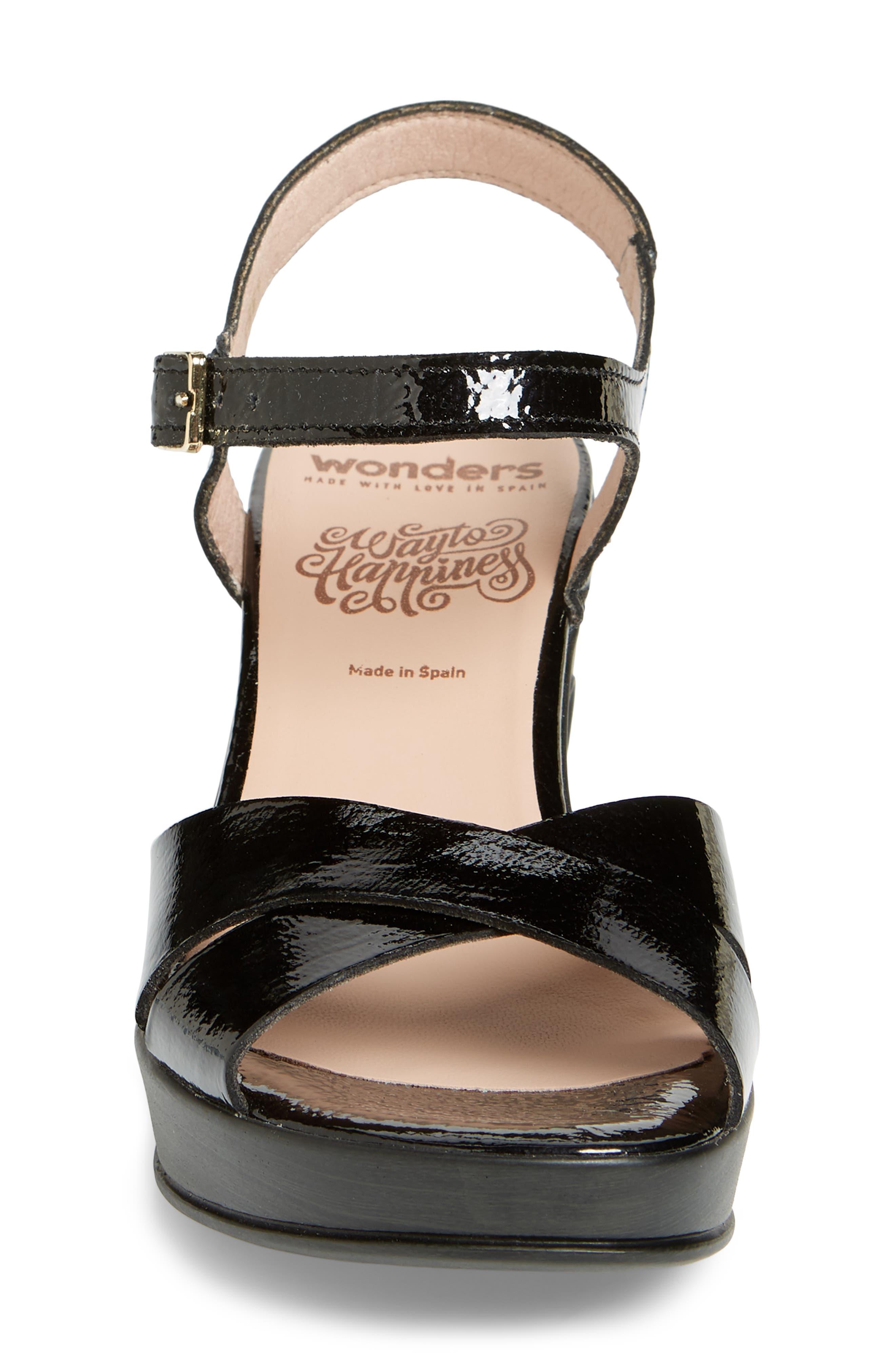 Platform Sandal,                             Alternate thumbnail 4, color,                             Black Patent Leather