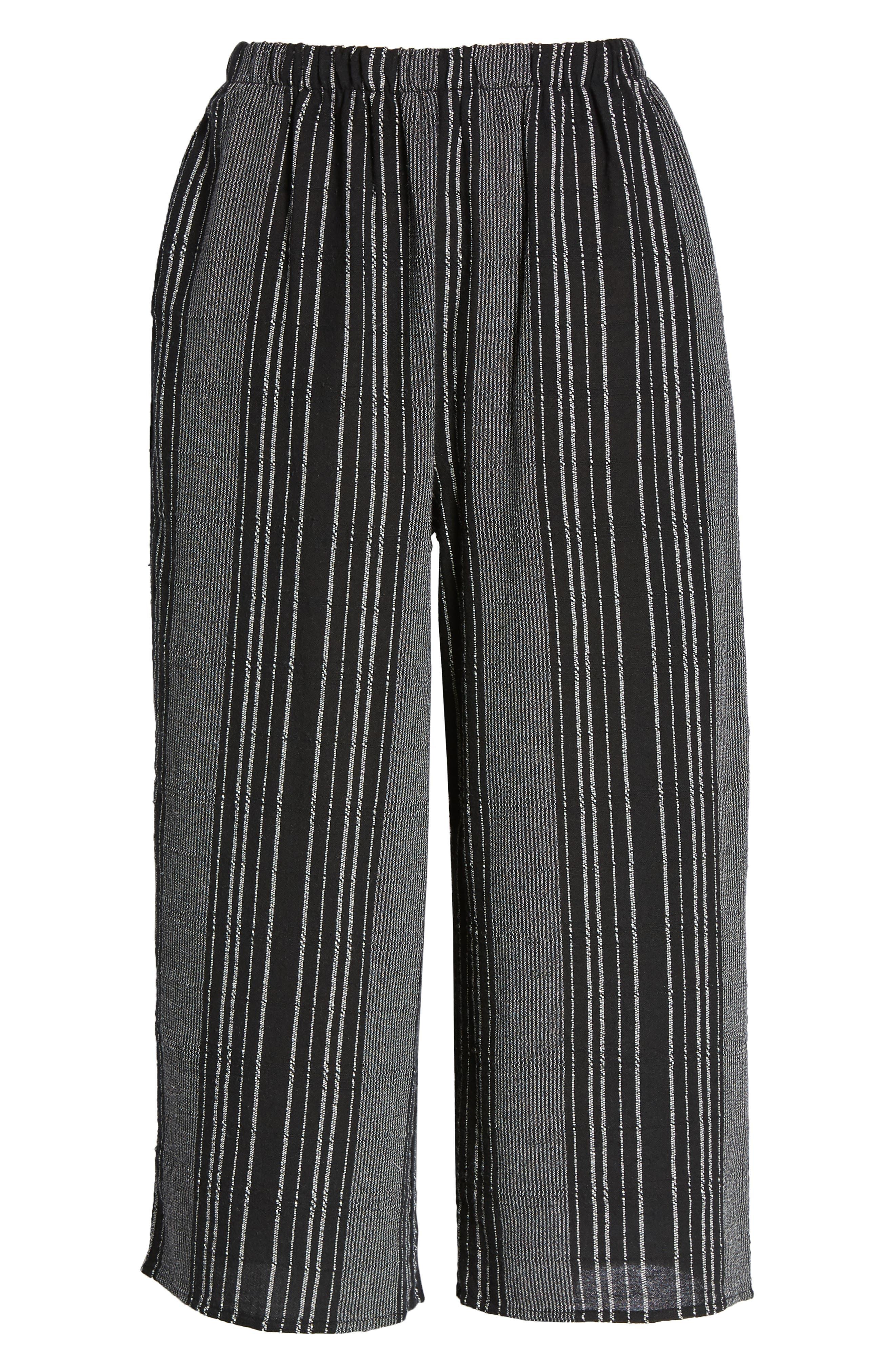 Bella Stripe Crop Pants,                             Alternate thumbnail 8, color,                             Black