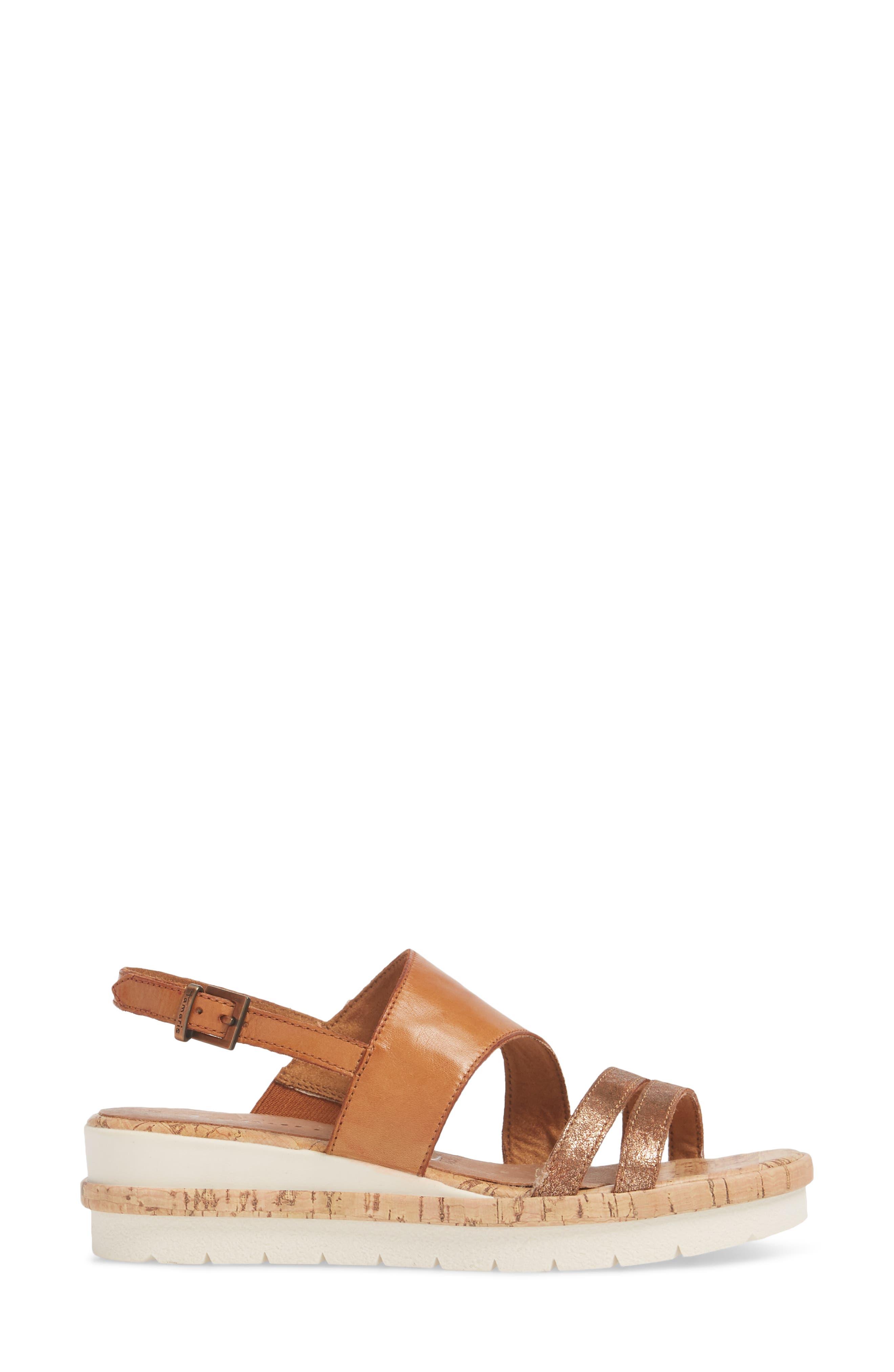 Eda Wedge Sandal,                             Alternate thumbnail 3, color,                             Nut Leather