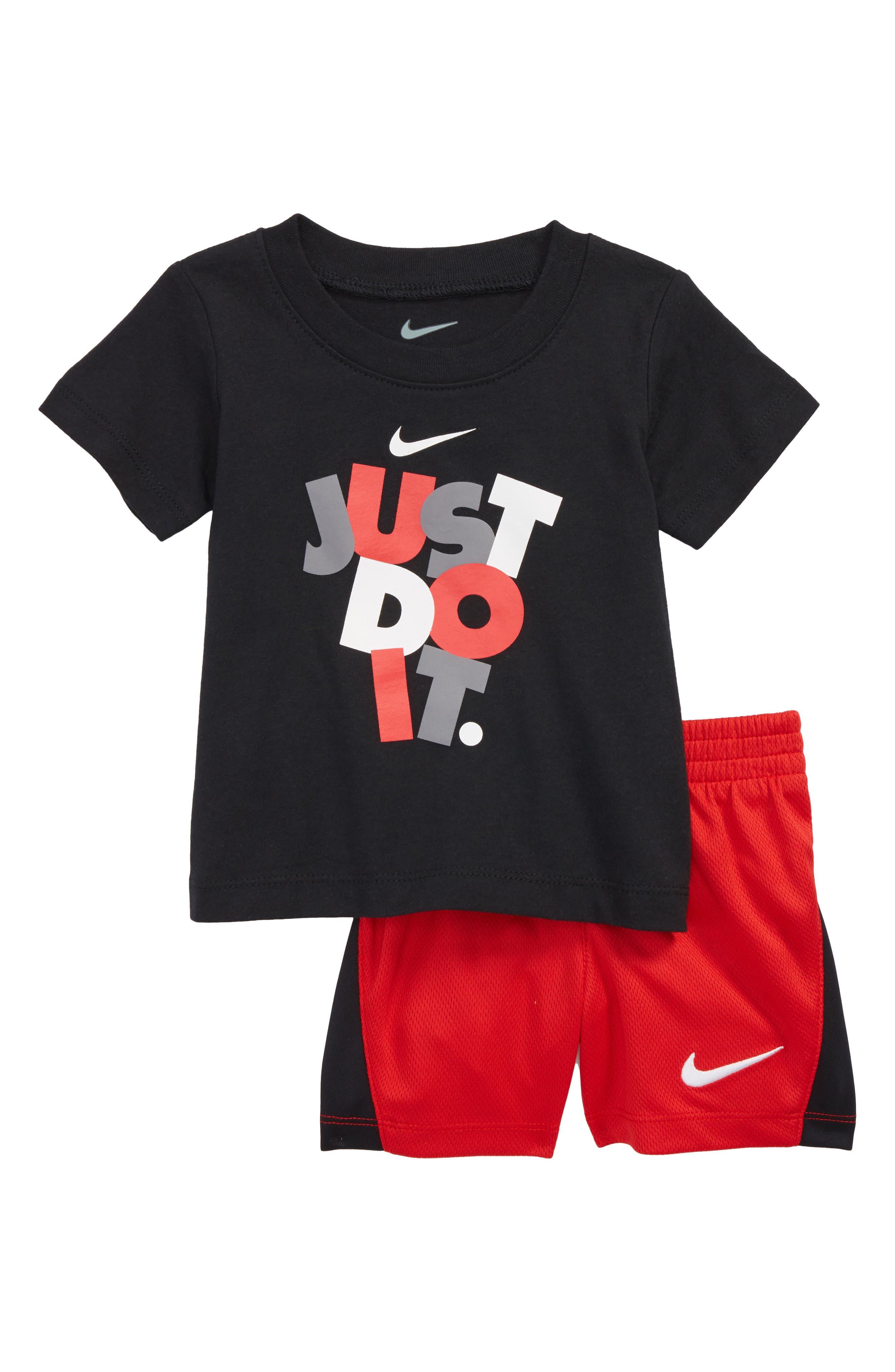 Just Do It T-Shirt & Mesh Shorts Set,                             Main thumbnail 1, color,                             Black