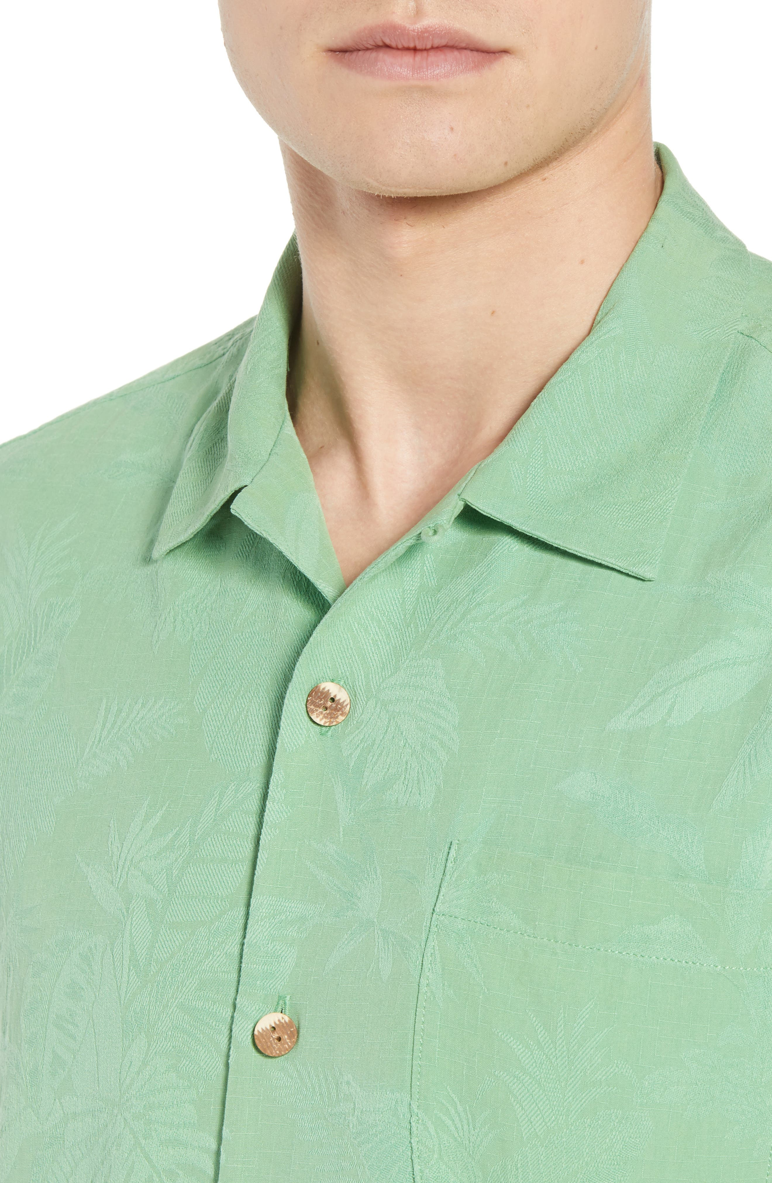 St Lucia Fronds Silk Camp Shirt,                             Alternate thumbnail 2, color,                             Tulum