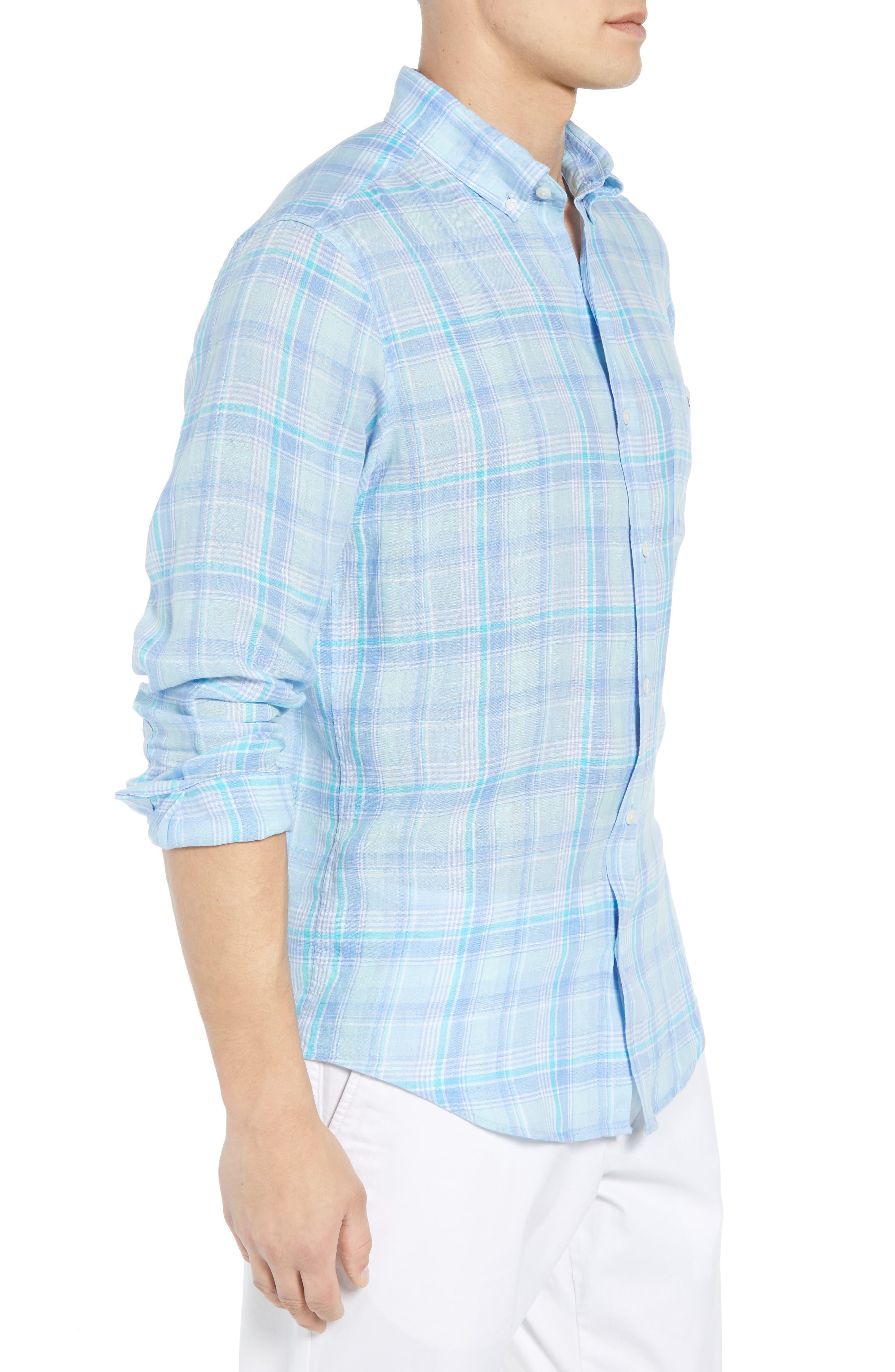 Moore's Island Classic Fit Plaid Sport Shirt,                             Alternate thumbnail 4, color,                             Baja Blue