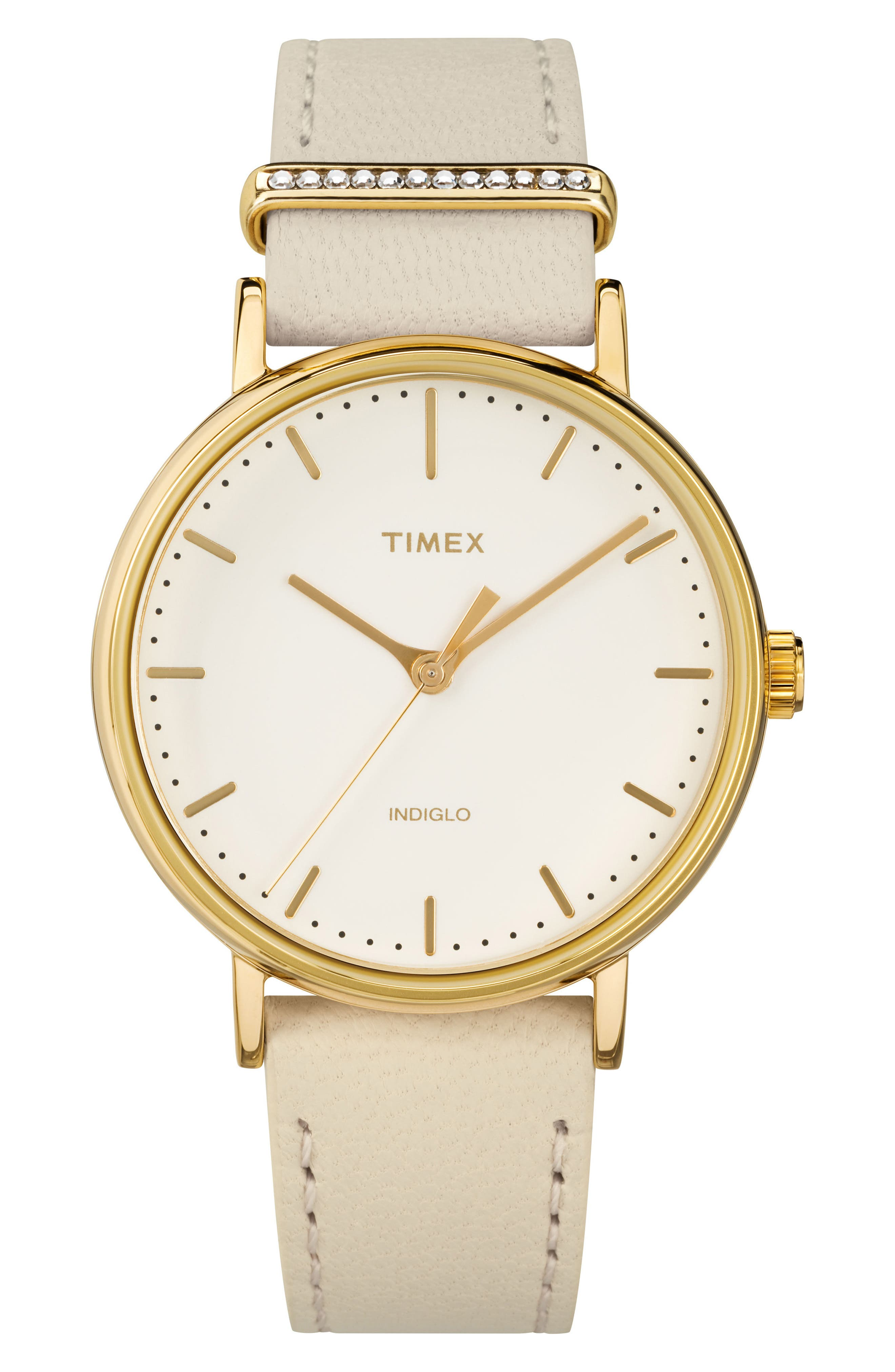 Timex Fairfield Leather Strap Watch, 37mm,                             Main thumbnail 1, color,                             Bone/White/Gold