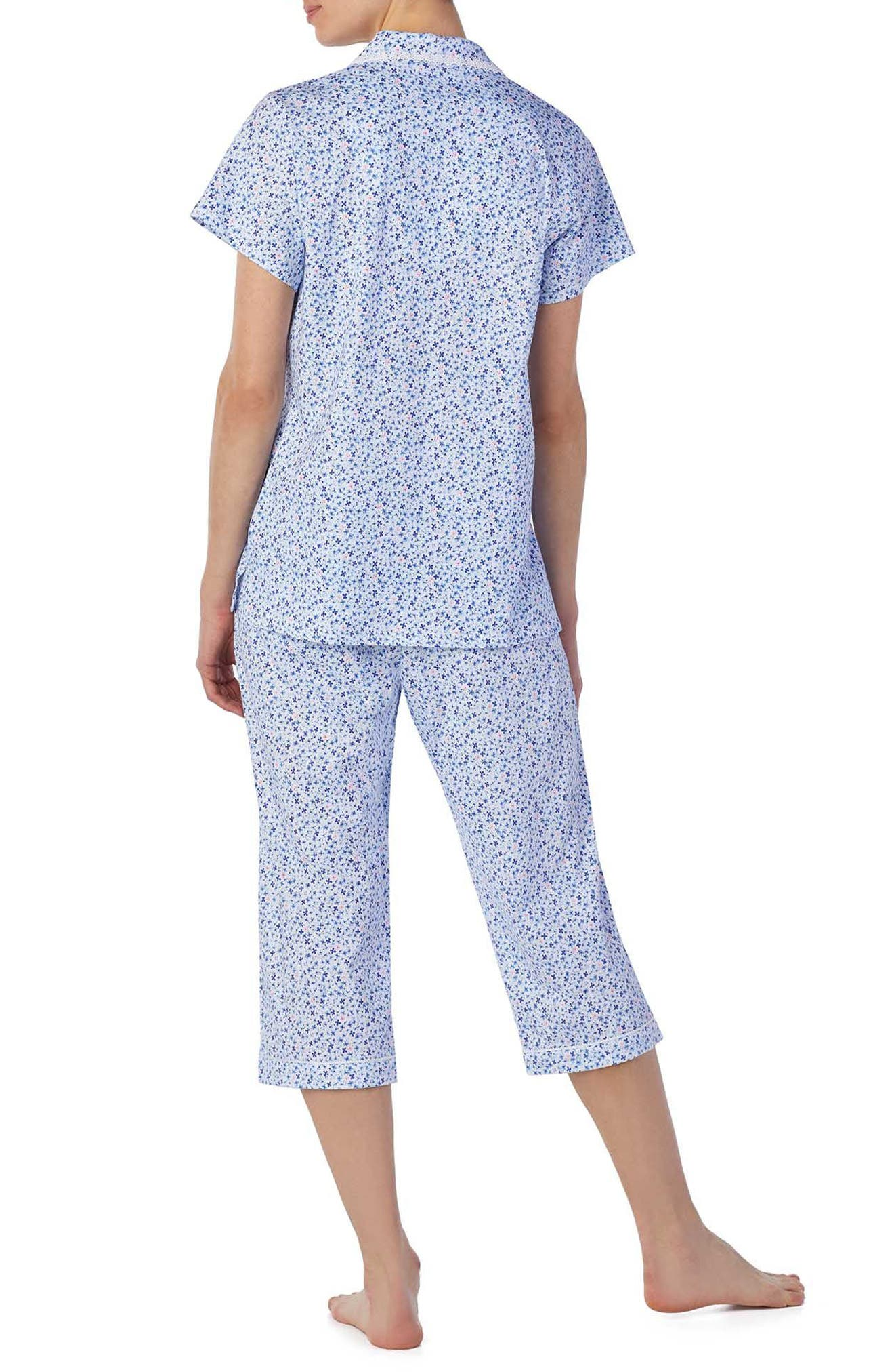 Jersey Capri Pajamas,                             Alternate thumbnail 2, color,                             Pink/ Blue