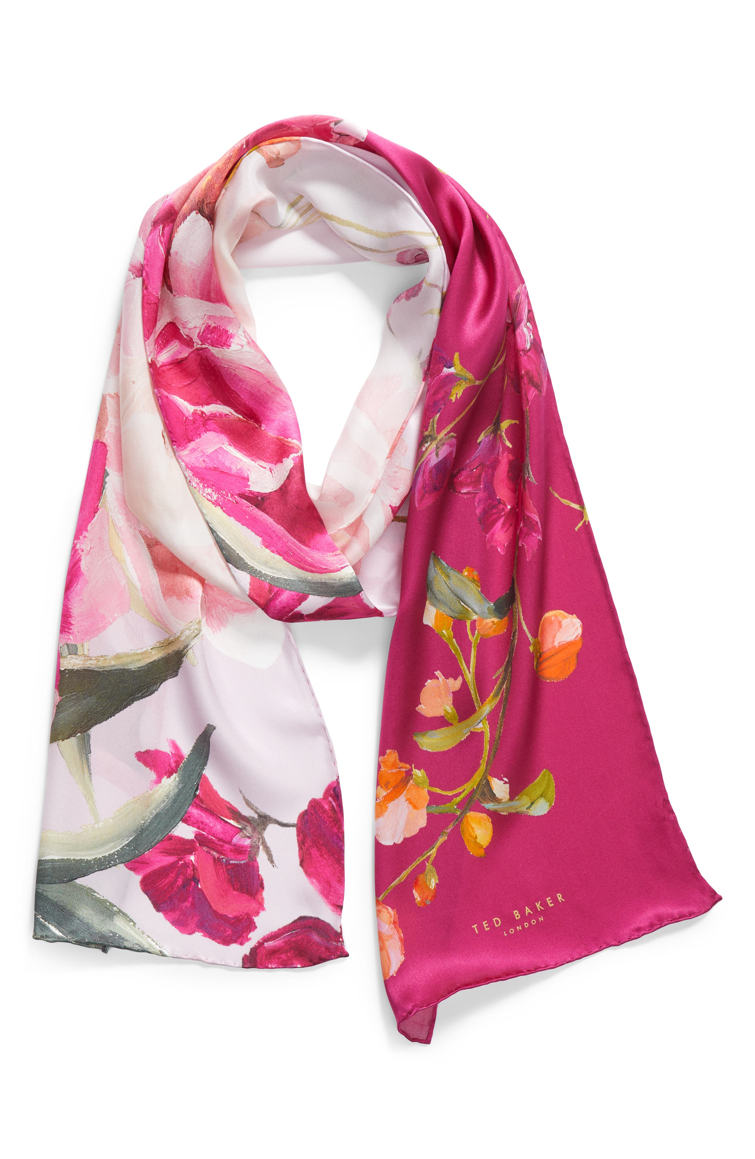 Serenity Skinny Silk Scarf,                             Alternate thumbnail 2, color,                             Pale Pink