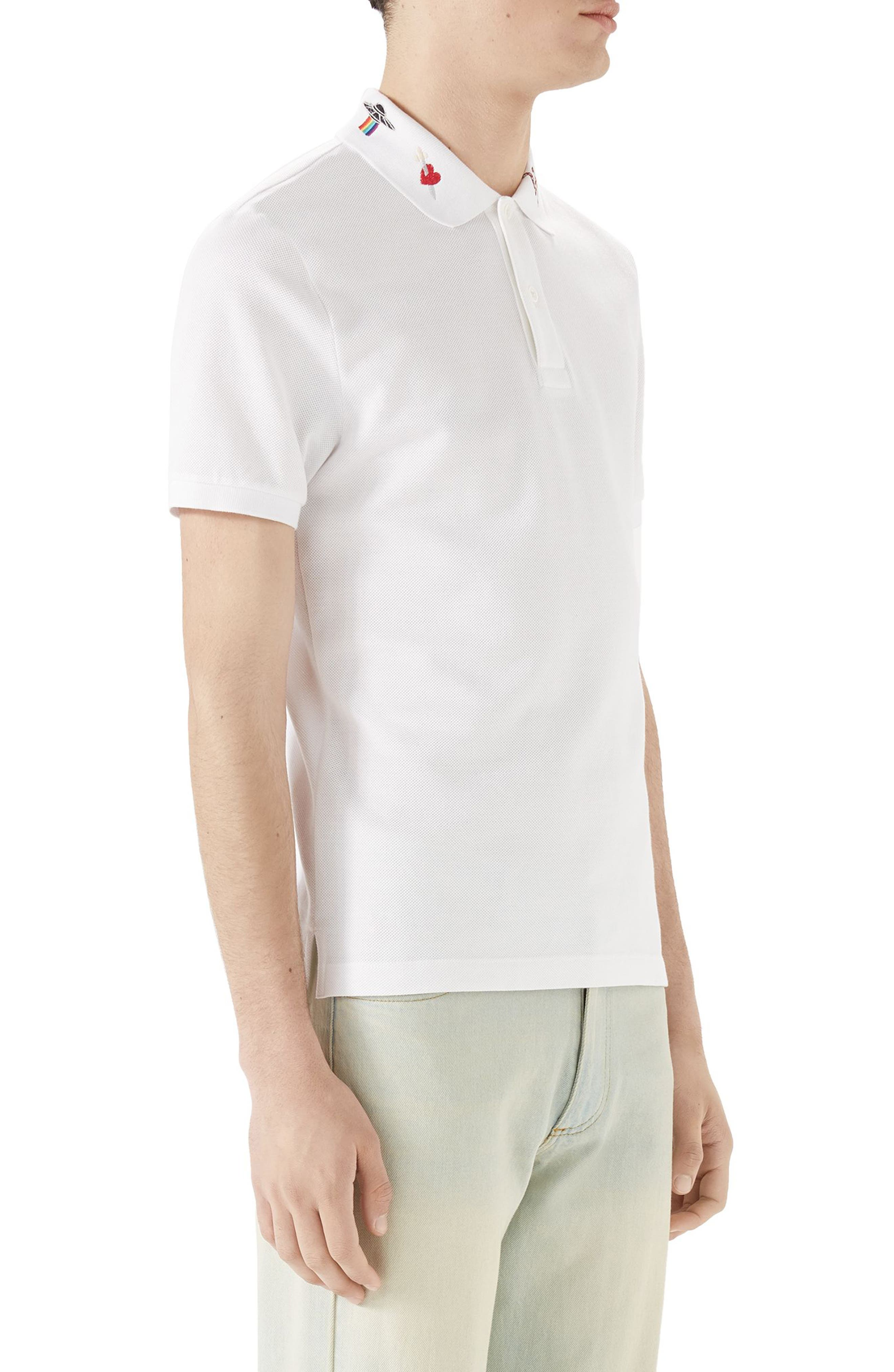 Embroidered Collar Piqué Polo,                             Alternate thumbnail 3, color,                             White
