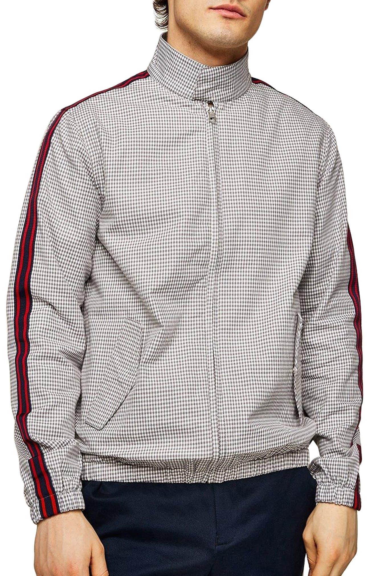 Check Harrington Jacket,                             Main thumbnail 1, color,                             Light Grey Multi