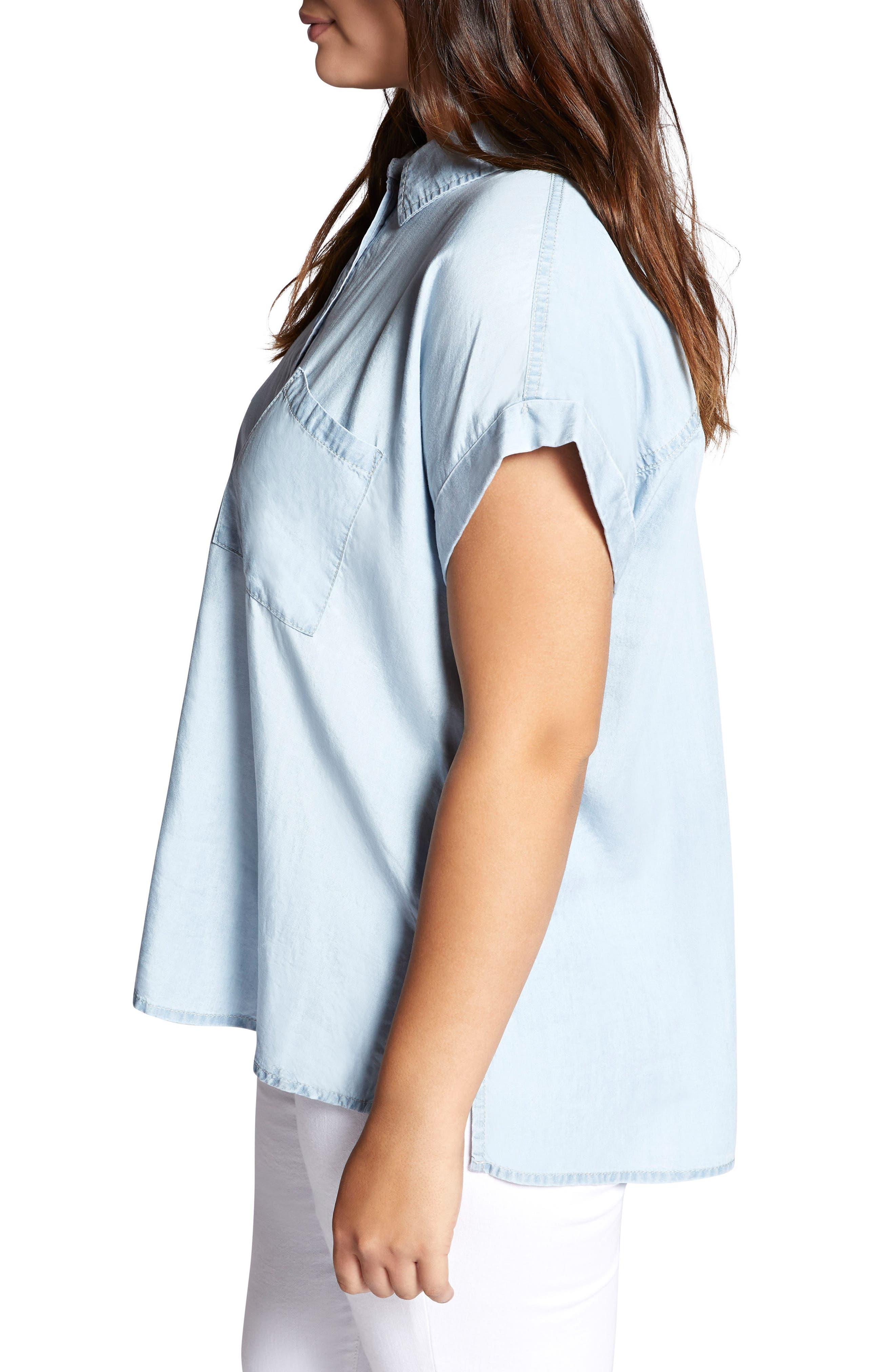 Mod Short Sleeve Boyfriend Shirt,                             Alternate thumbnail 3, color,                             Kaskade Wash