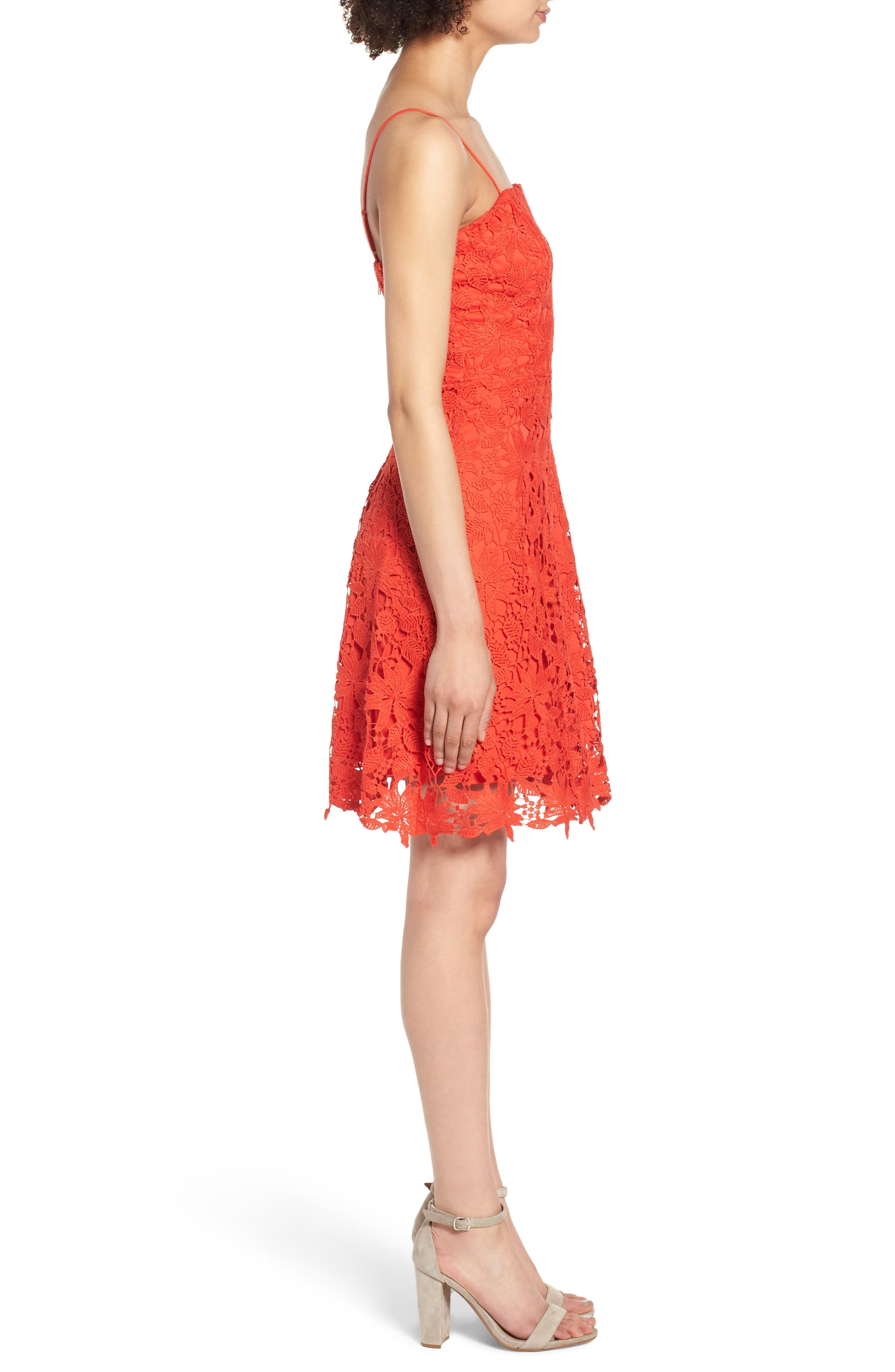 Lace Fit & Flare Dress,                             Alternate thumbnail 3, color,                             Candy Red