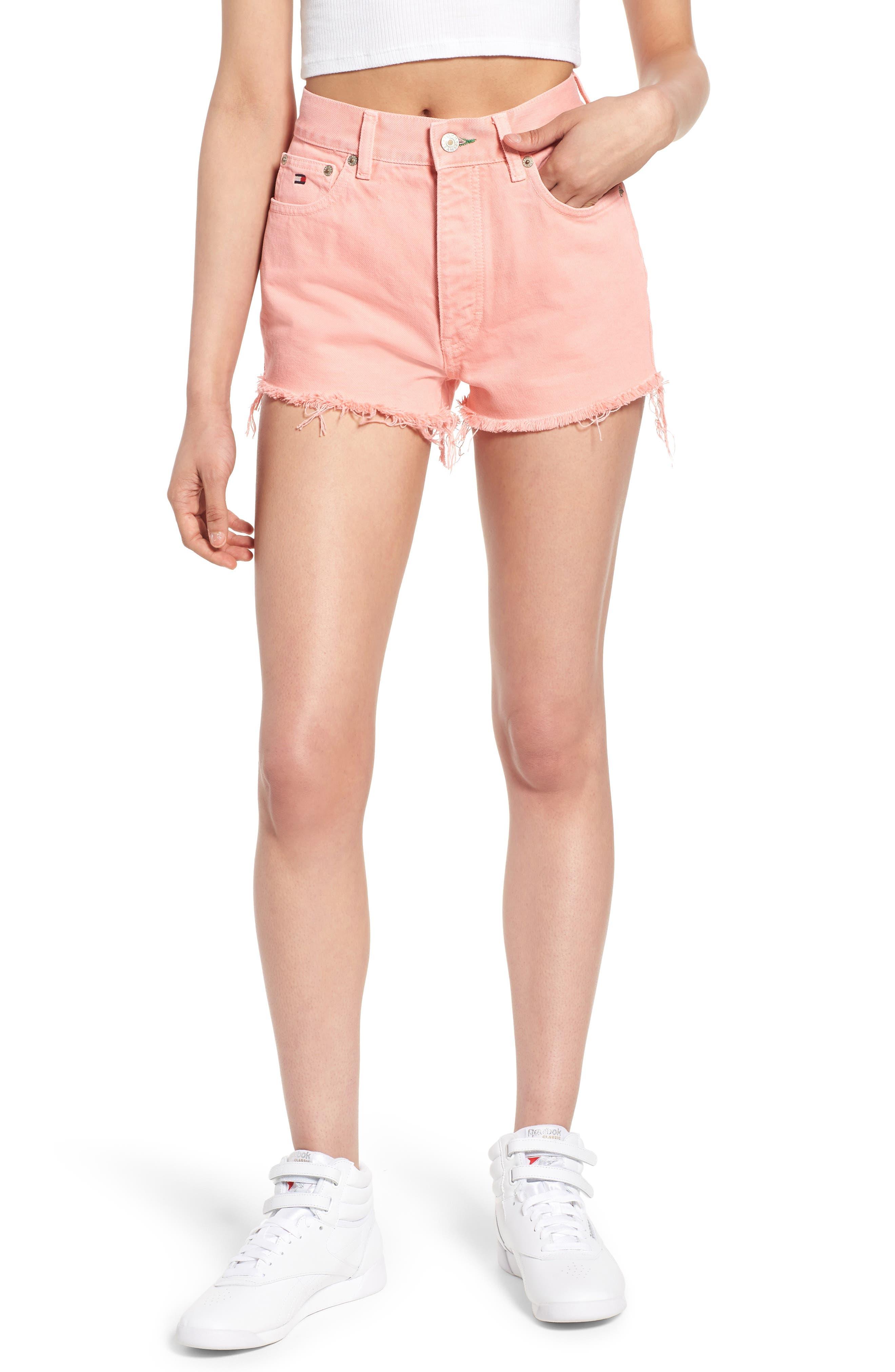 Fray Hem Denim Shorts,                             Main thumbnail 1, color,                             Quartz Pink