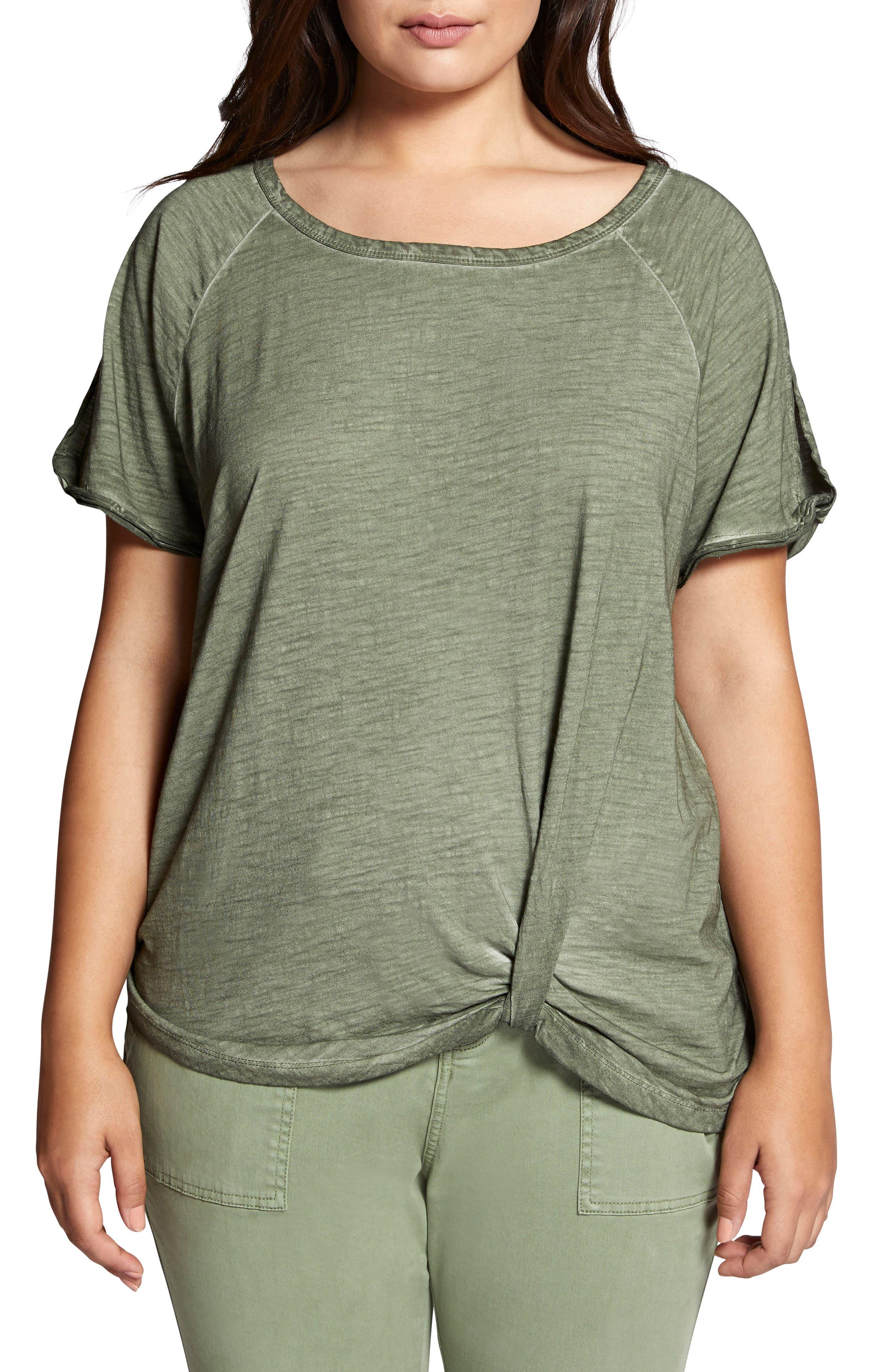 Sanctuary Adrienne Side Twist Cotton Blend Top (Plus Size)