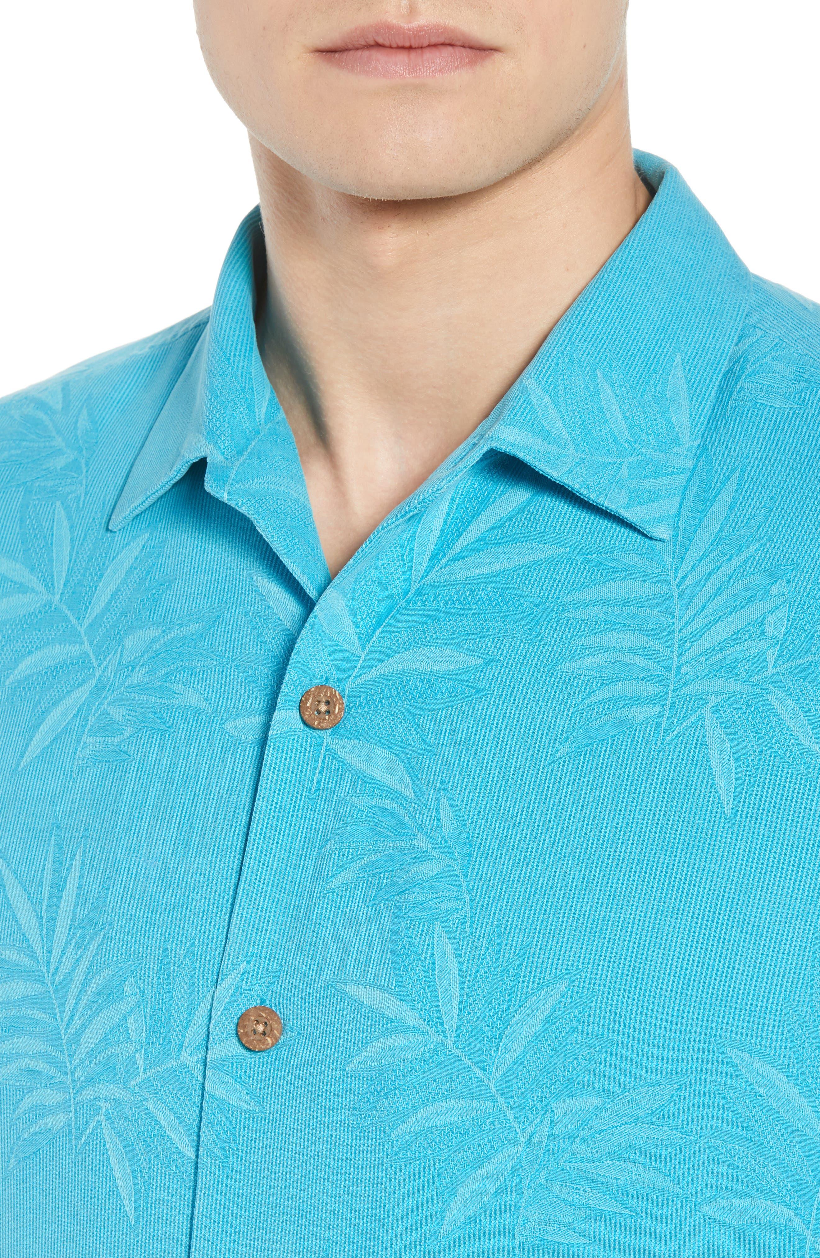 Luau Floral Silk Shirt,                             Alternate thumbnail 2, color,                             Pool Party Blue