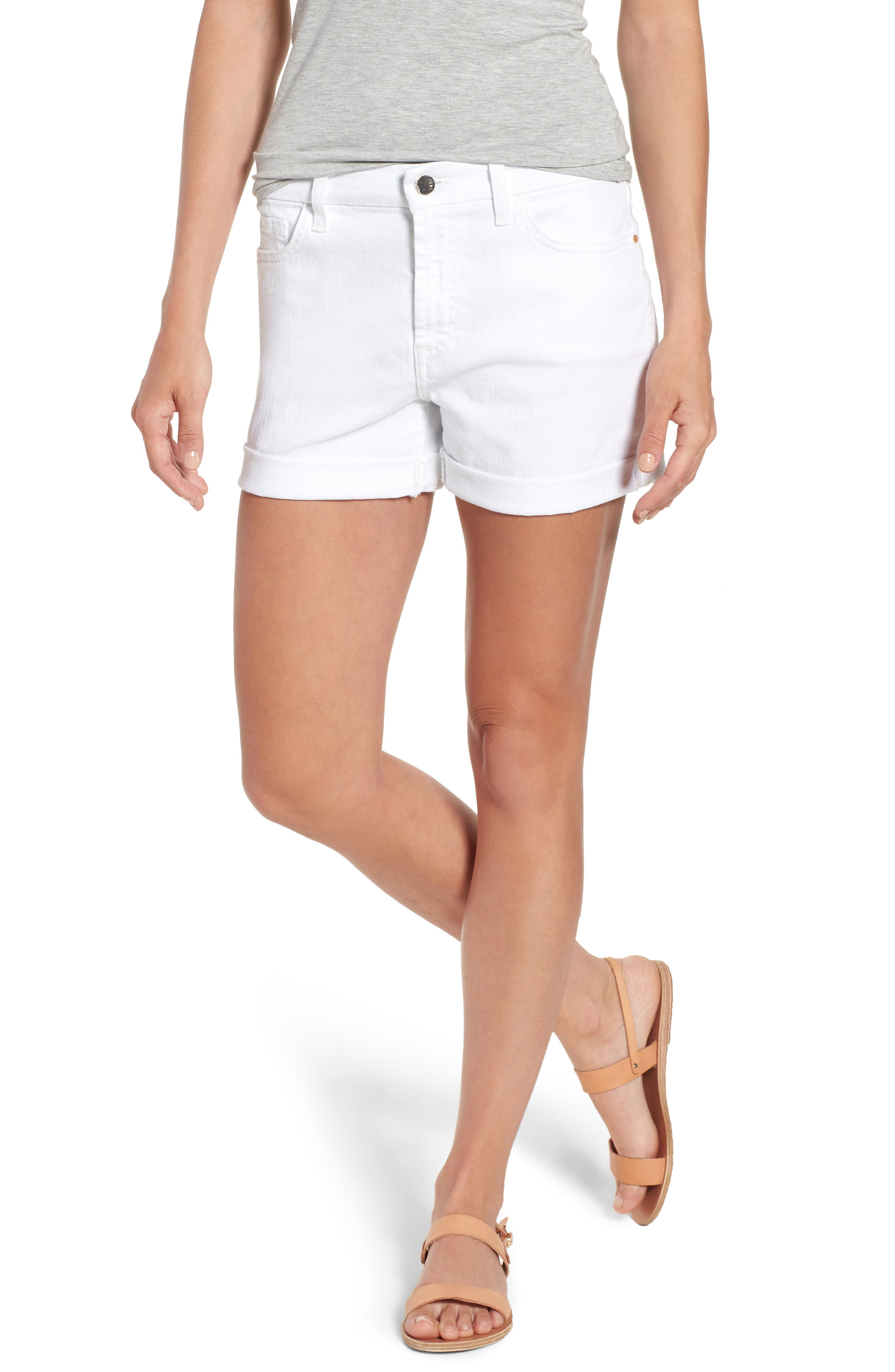 Rolled Denim Shorts,                         Main,                         color, White