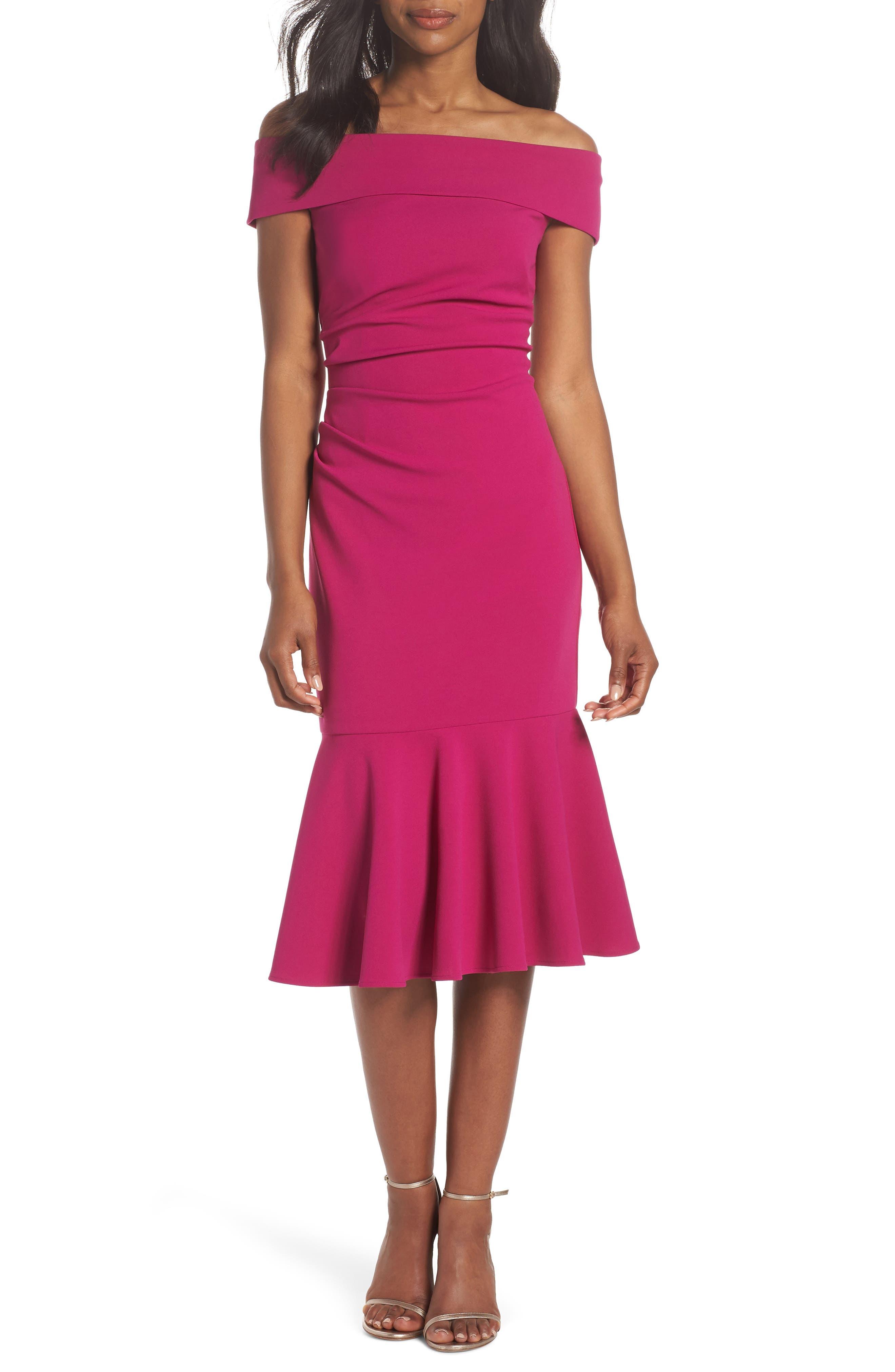 Off the Shoulder Midi Dress,                         Main,                         color, Raspberry