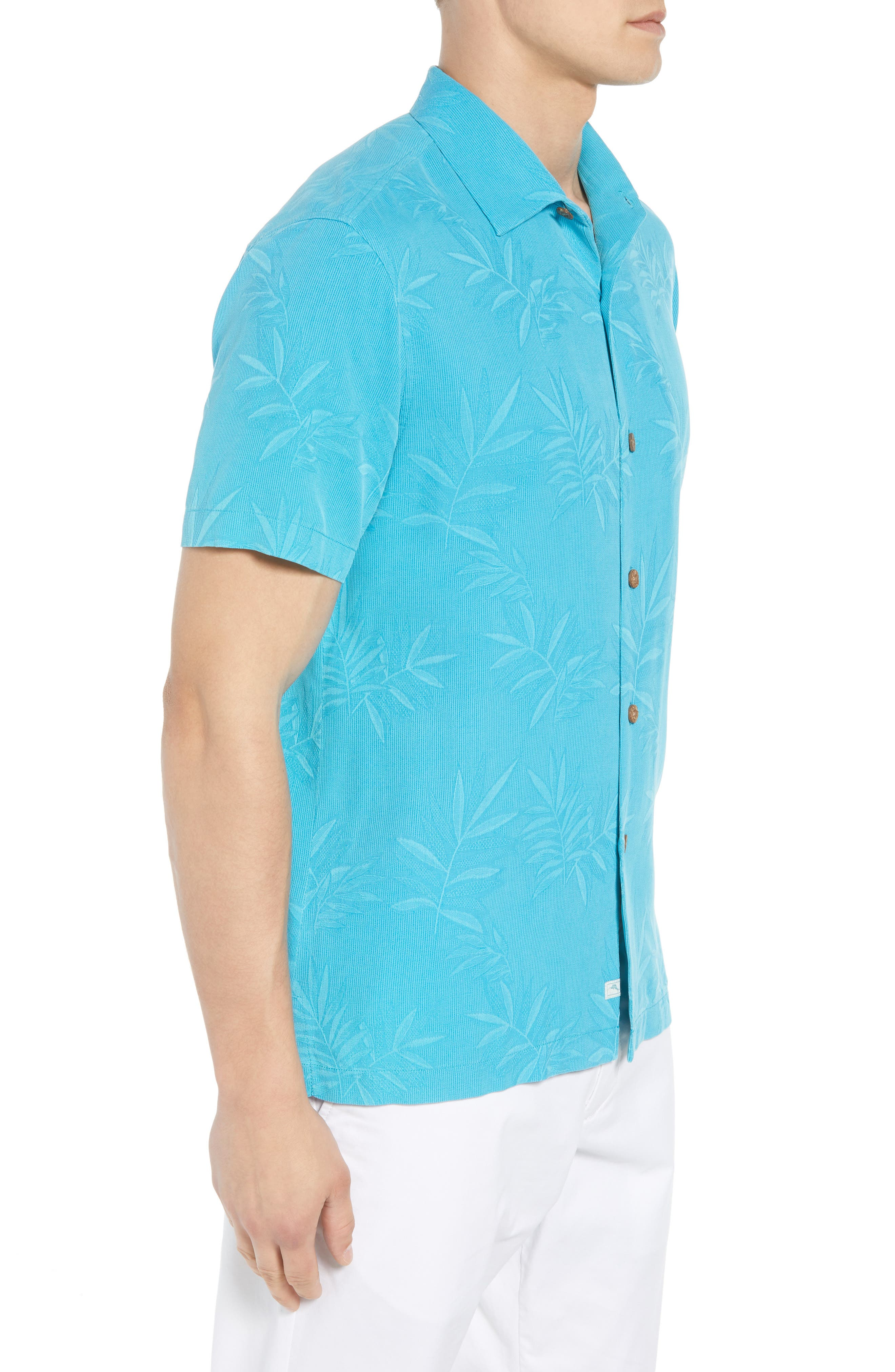 Luau Floral Silk Shirt,                             Alternate thumbnail 4, color,                             Pool Party Blue