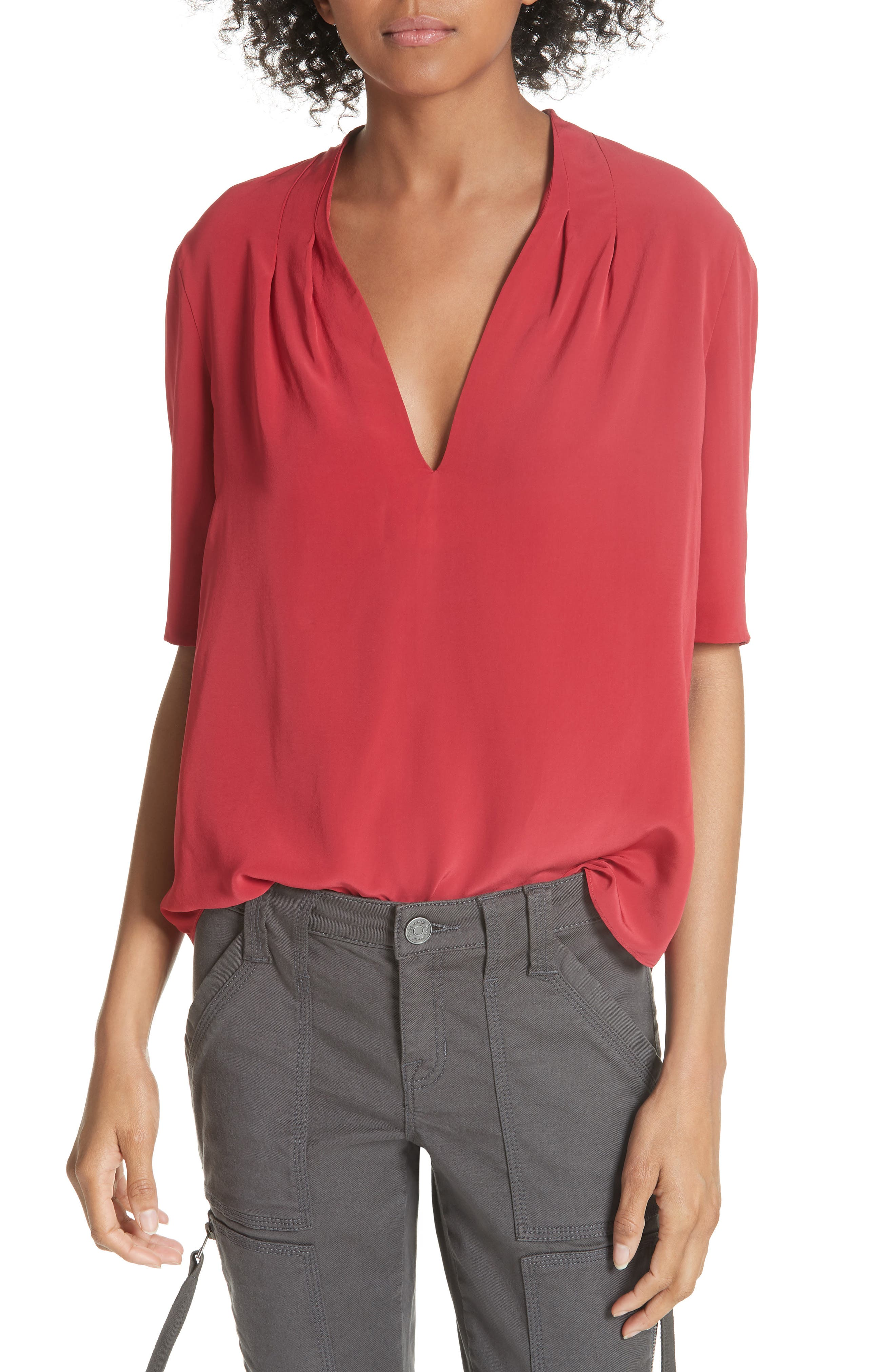 ANCE PLEATED BACK SHORT SLEEVE BLOUSE