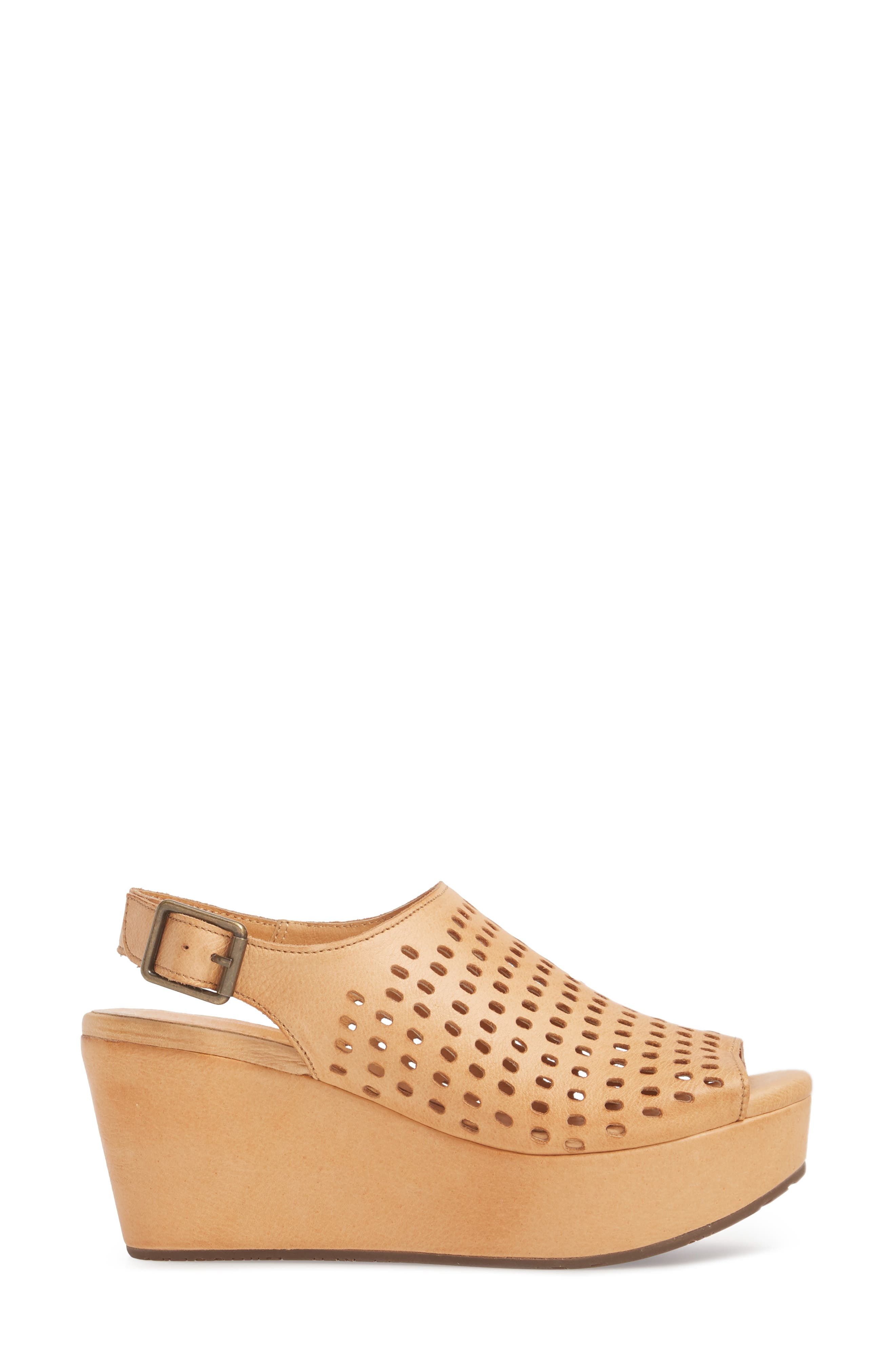Wally Platform Wedge Sandal,                             Alternate thumbnail 3, color,                             Tan Leather