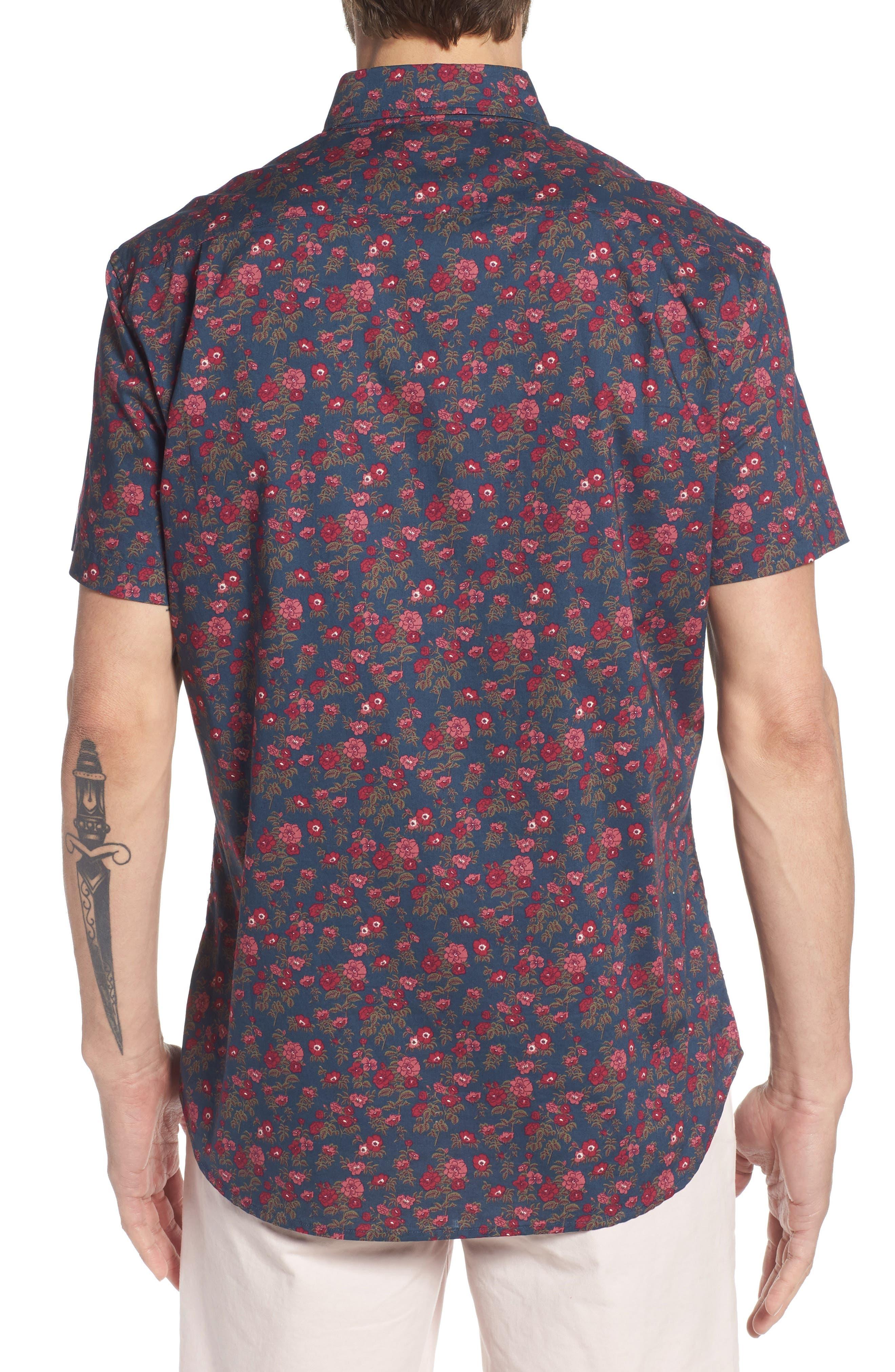 Riviera Slim Fit Floral Print Sport Shirt,                             Alternate thumbnail 3, color,                             Dandy Floral - Pickled Beet