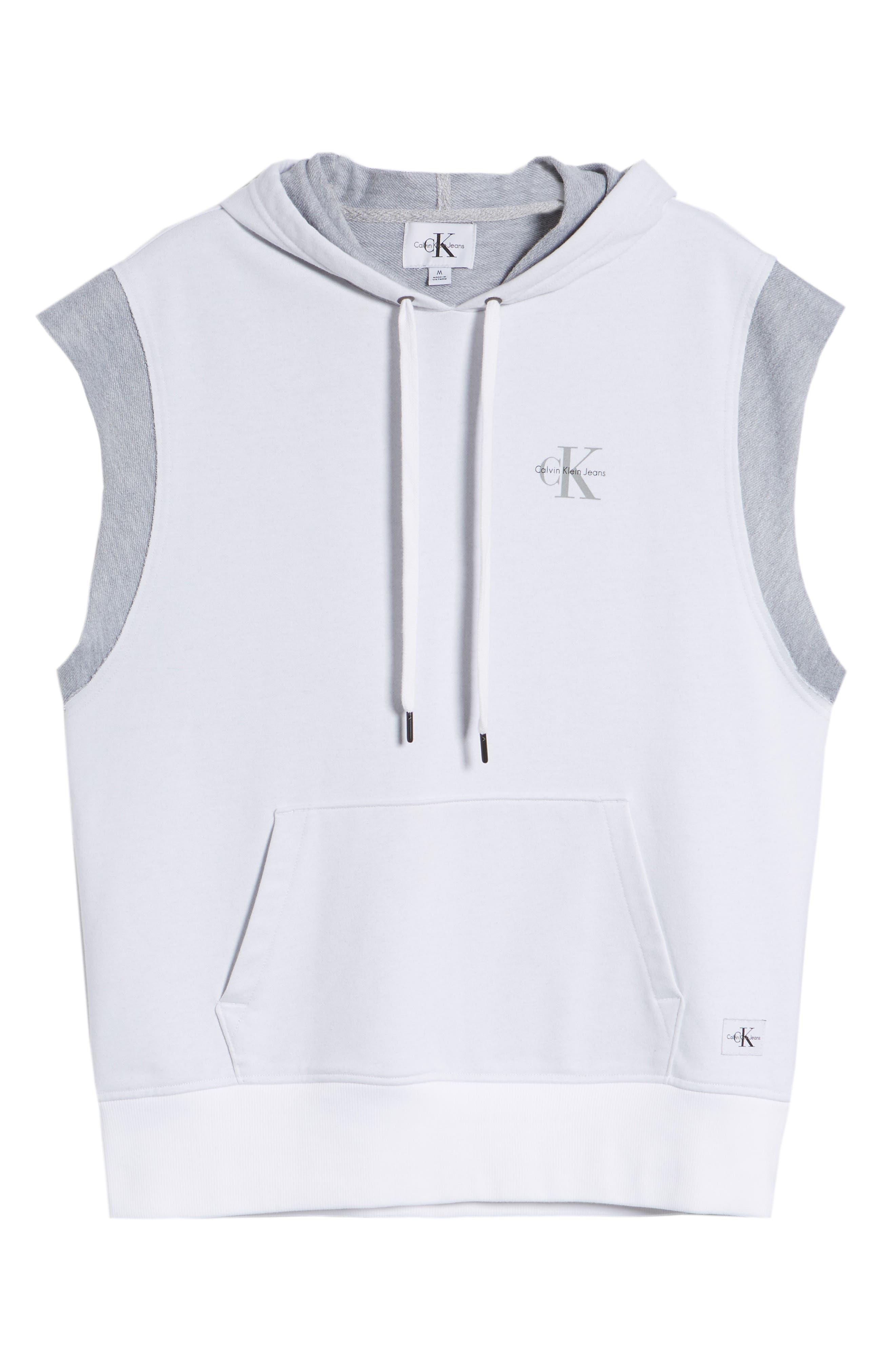 Calvin Klein Sleeveless Hoodie,                             Alternate thumbnail 6, color,                             Standard White