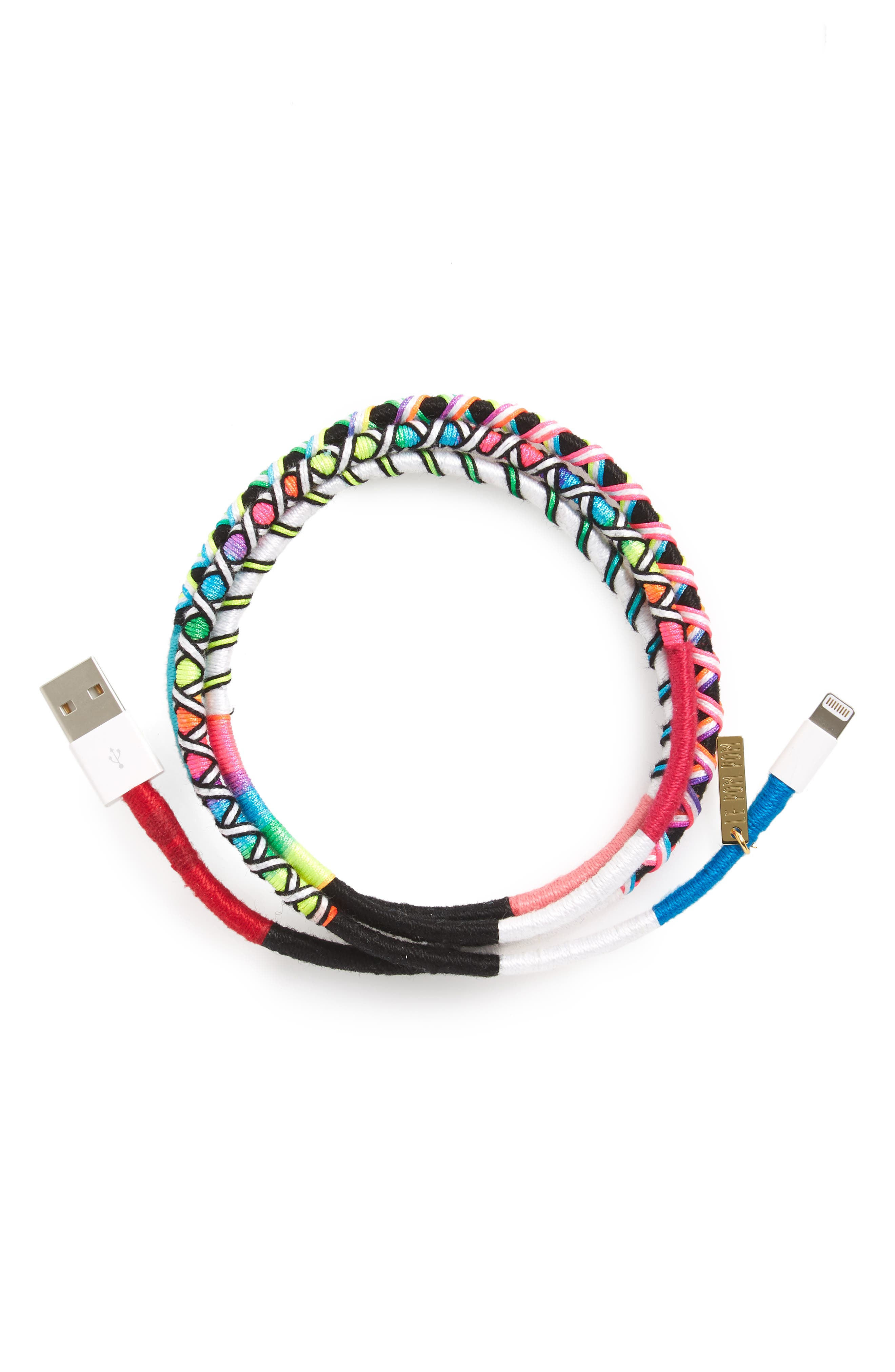 Polly Hand-Wrapped iPhone Charging Cord,                             Main thumbnail 1, color,                             Rainbow