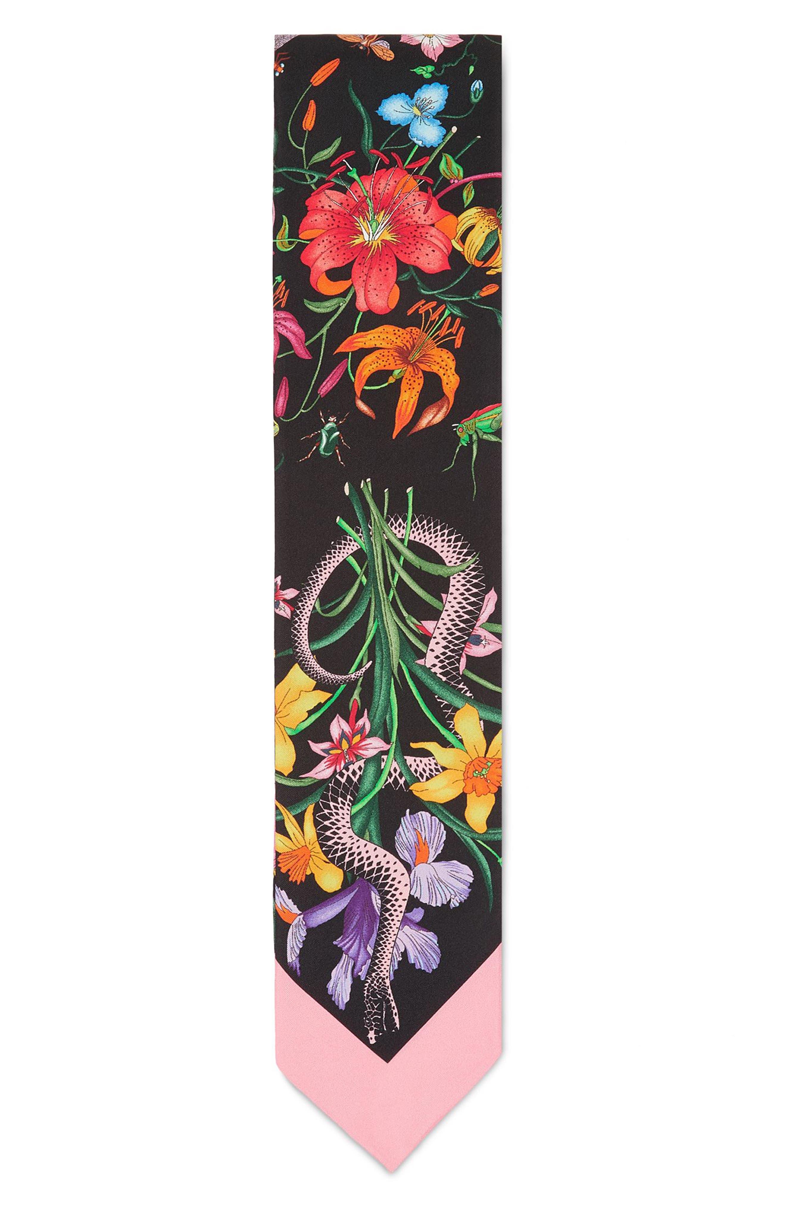 Flora Snake Silk Scarf,                             Alternate thumbnail 2, color,                             Black/ Pink
