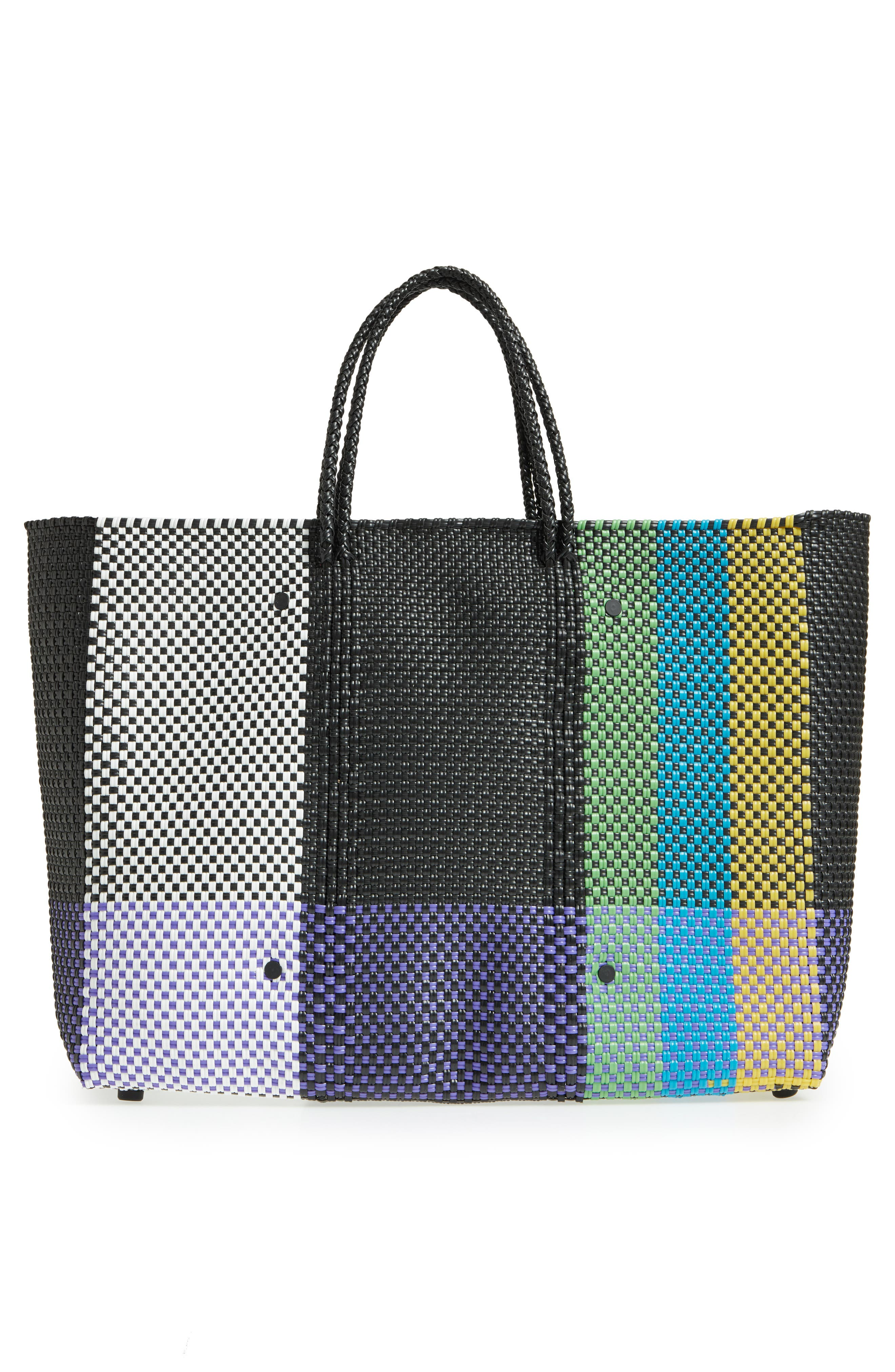 Large Woven Tote,                             Alternate thumbnail 3, color,                             Green/ Yellow