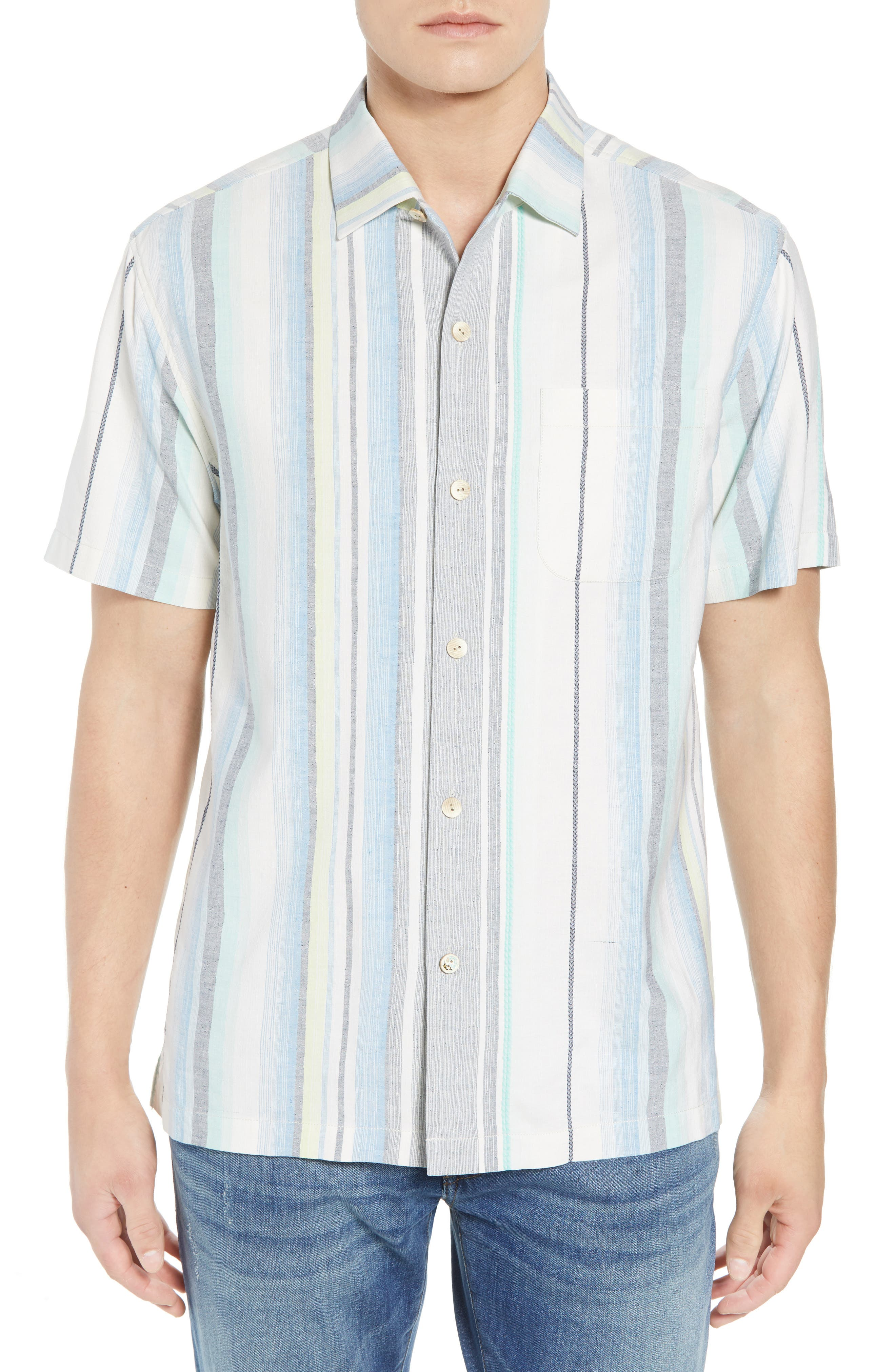 Posado Sands Silk Camp Shirt,                         Main,                         color, Blue Aster