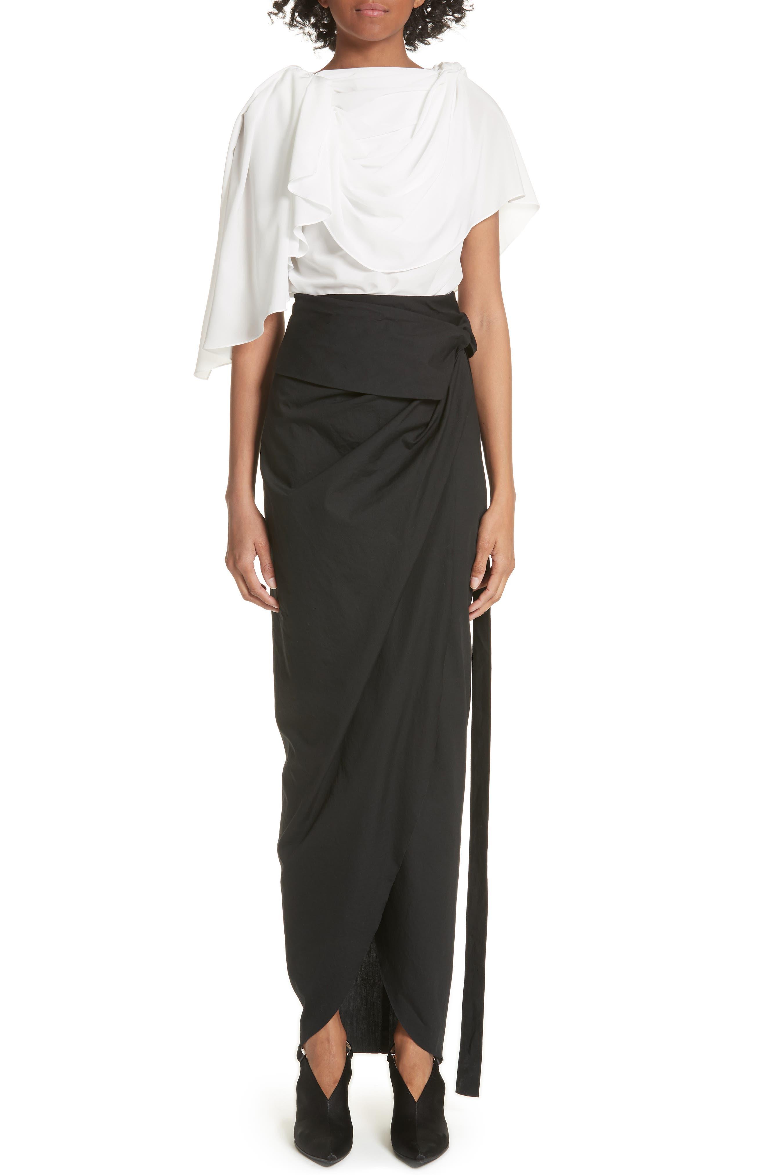 High Waist Wrap Skirt,                             Alternate thumbnail 7, color,                             Black