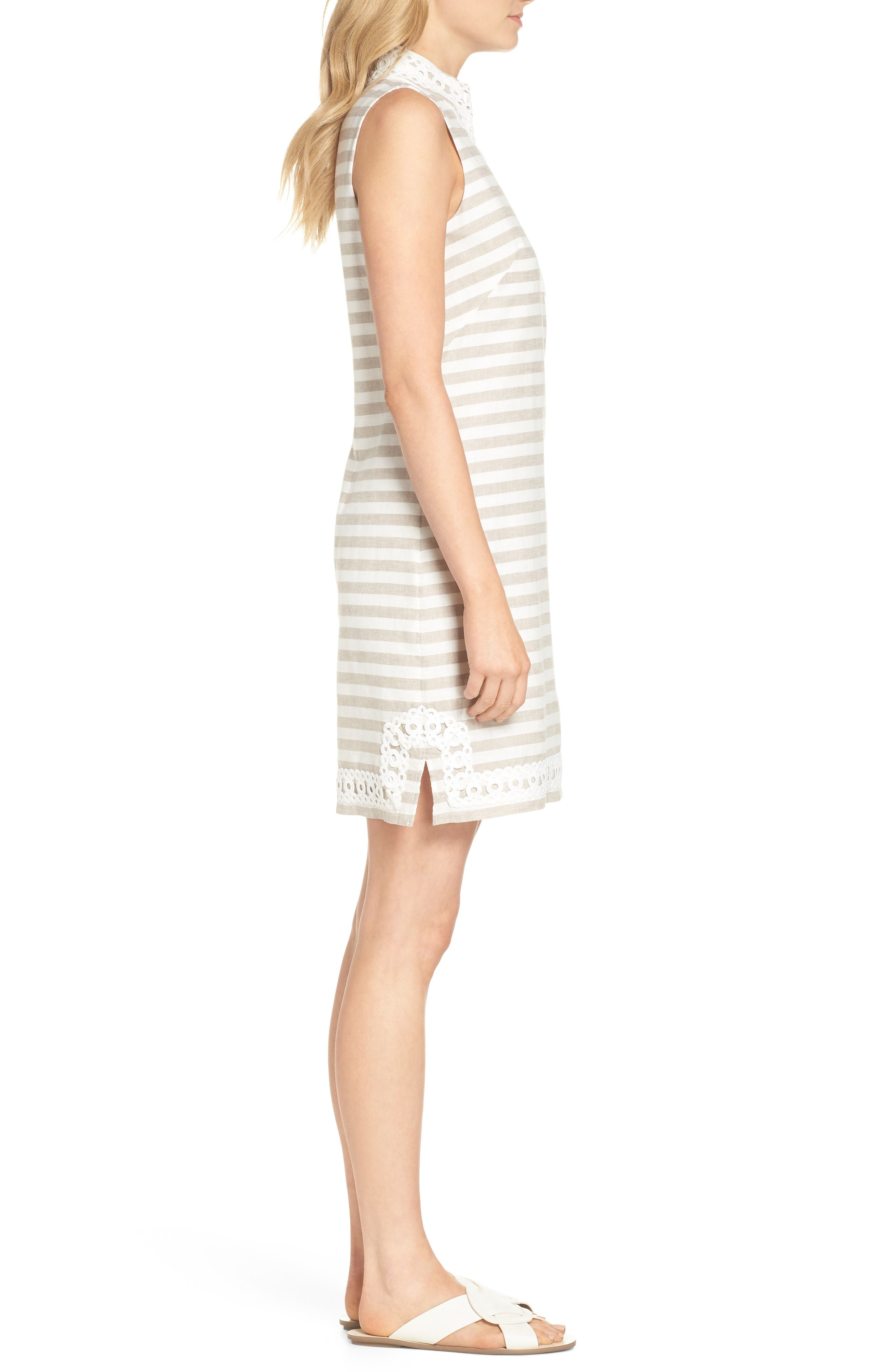 Stripe Linen & Cotton Blend Dress,                             Alternate thumbnail 3, color,                             Natural