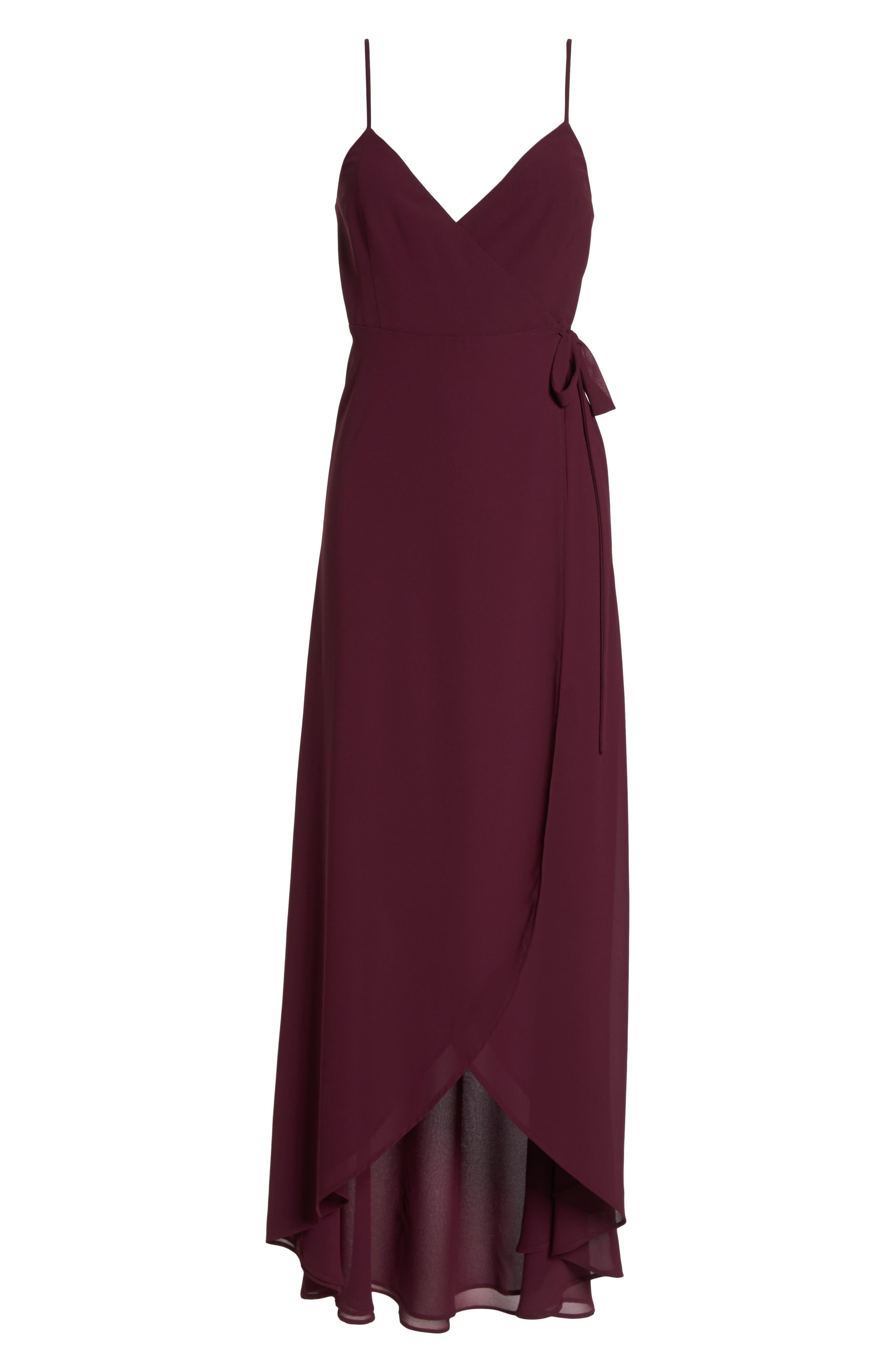 Mariah Wrap Maxi Dress,                             Alternate thumbnail 6, color,                             Merlot Chiffon