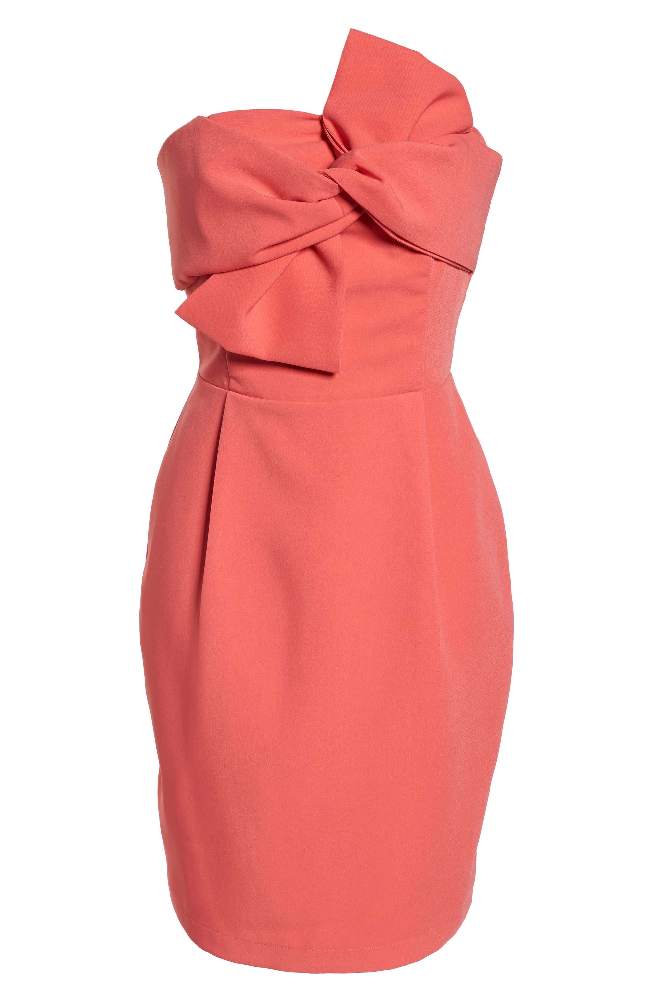 Harper Knotted Strapless Minidress,                             Alternate thumbnail 7, color,                             Coral