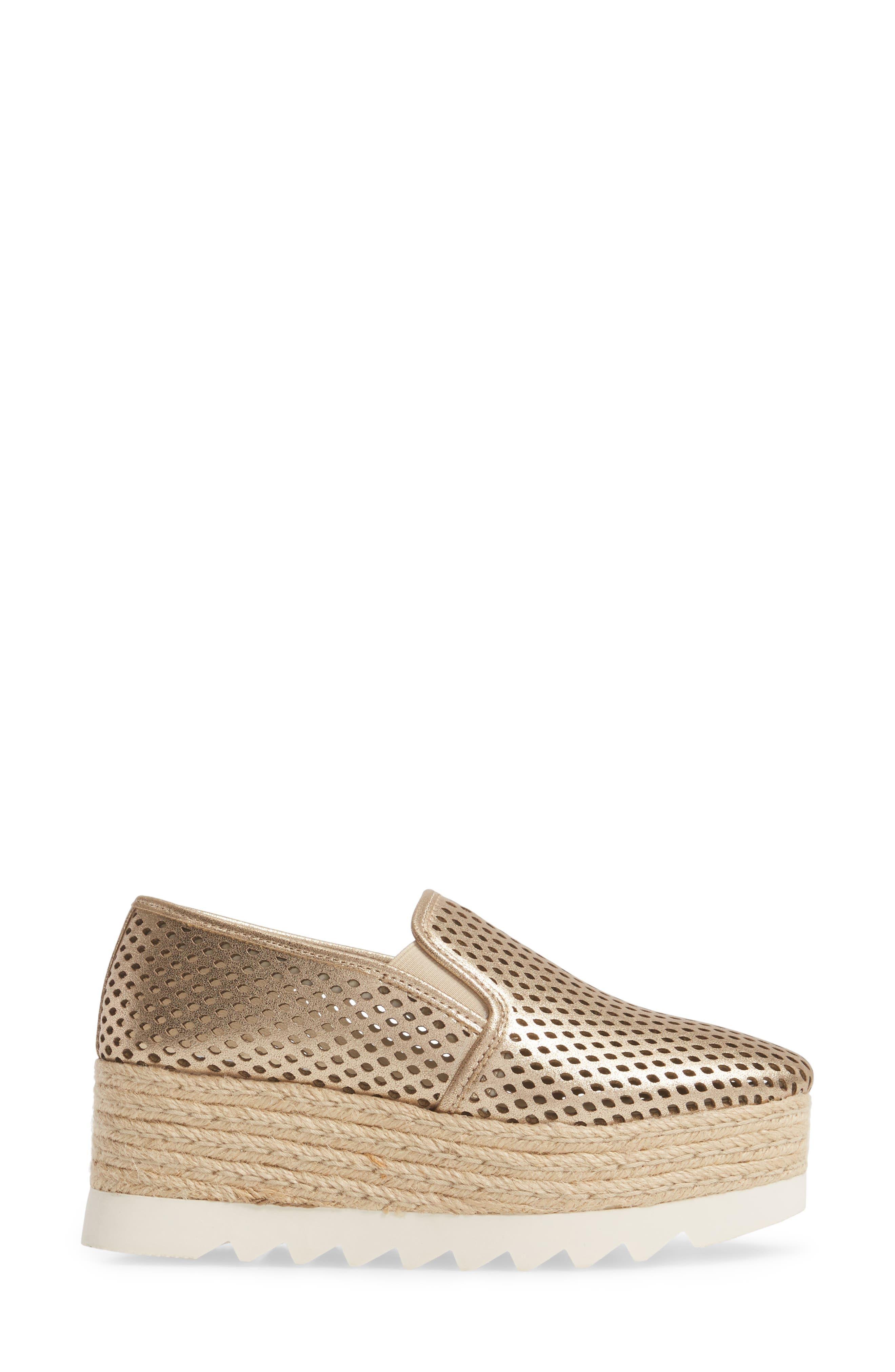 Kara Perforated Platform Loafer,                             Alternate thumbnail 3, color,                             Platinum