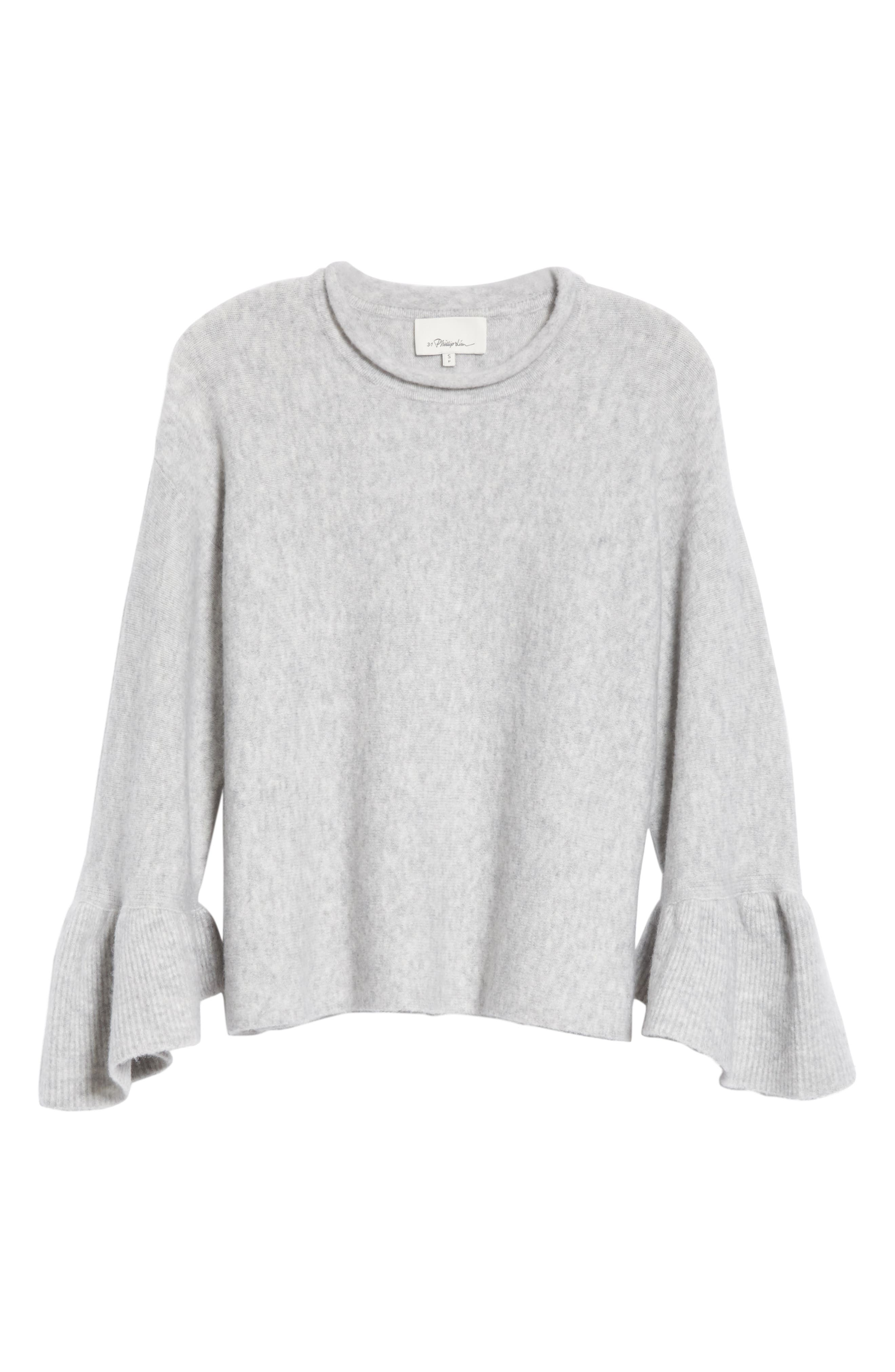 Ruffle Cuff Wool Blend Pullover,                             Alternate thumbnail 6, color,                             Grey Melange