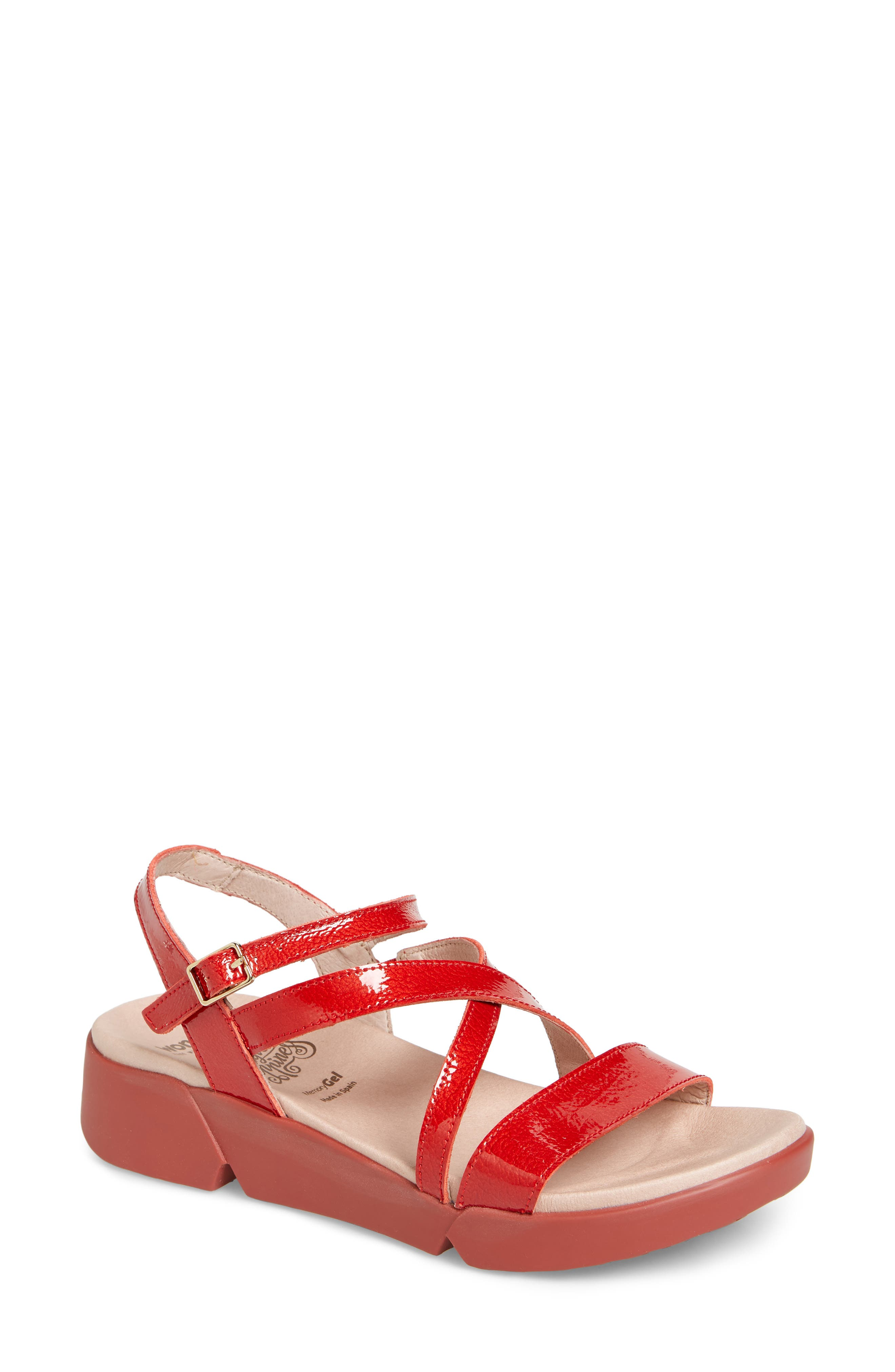 Wedge Sandal,                             Main thumbnail 1, color,                             Red Patent Leather