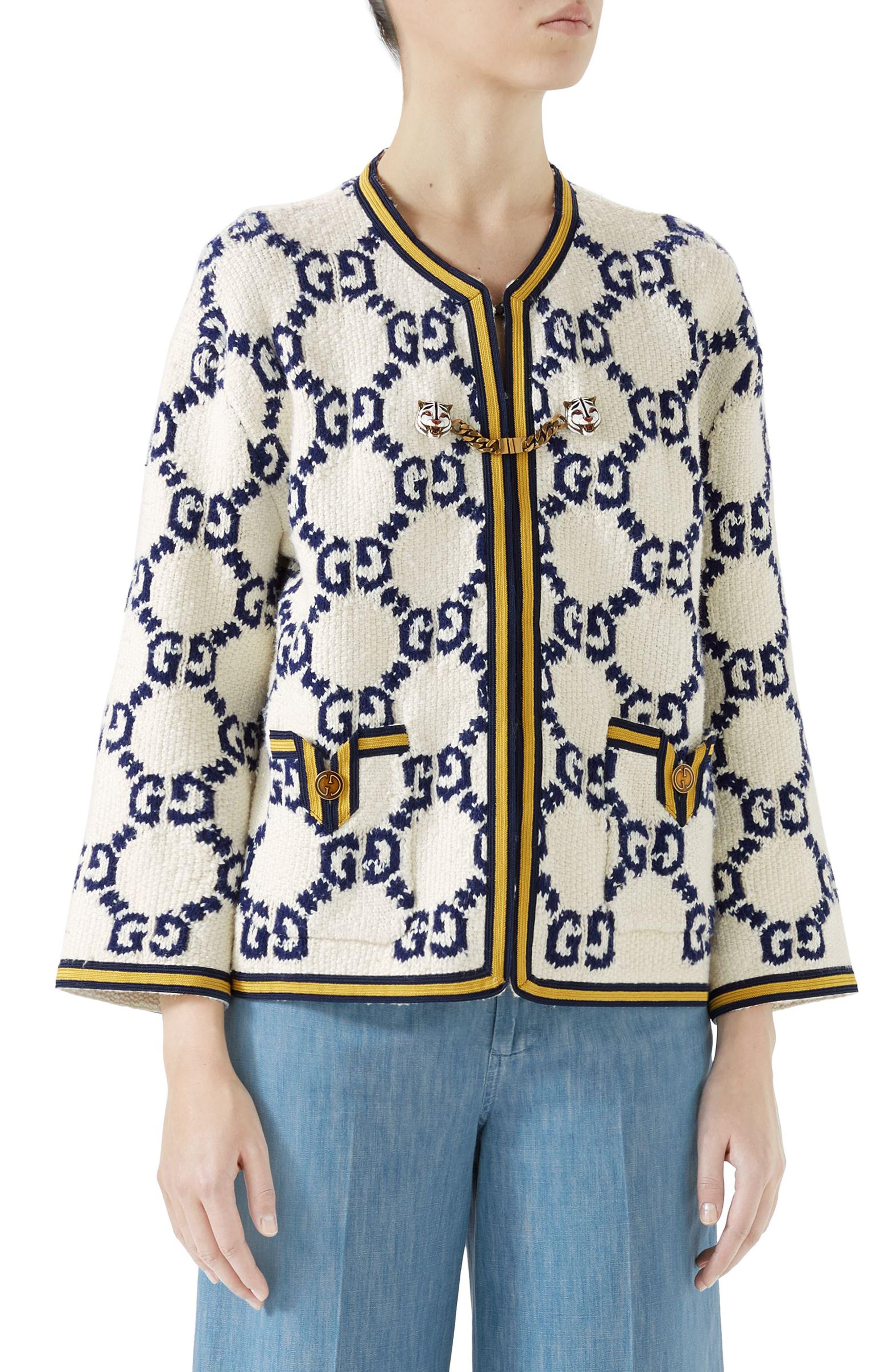 GG Textured Silk, Wool & Linen Tweed Jacket,                             Main thumbnail 1, color,                             Multi