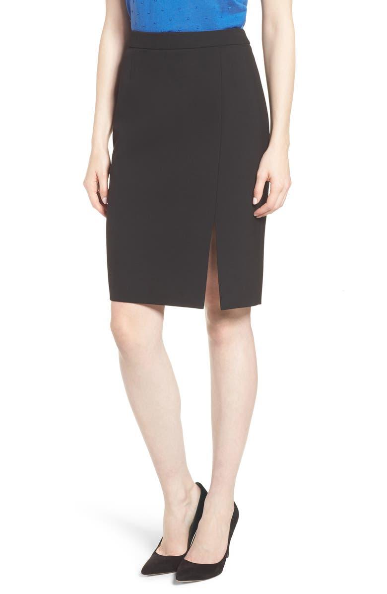 Volania Ponte Slit Pencil Skirt
