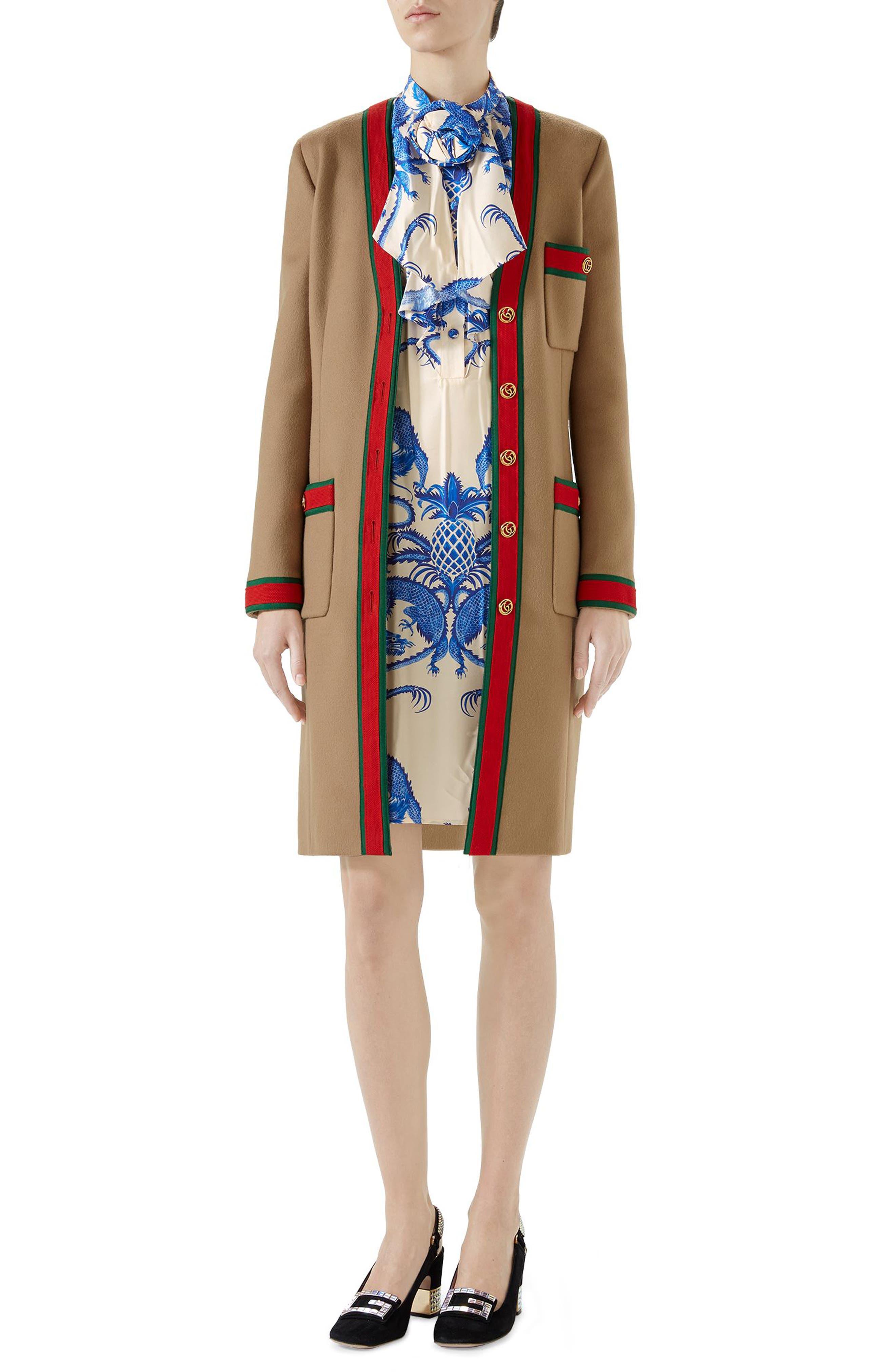 Wool Stripe Trim Coat,                             Alternate thumbnail 4, color,                             Camel